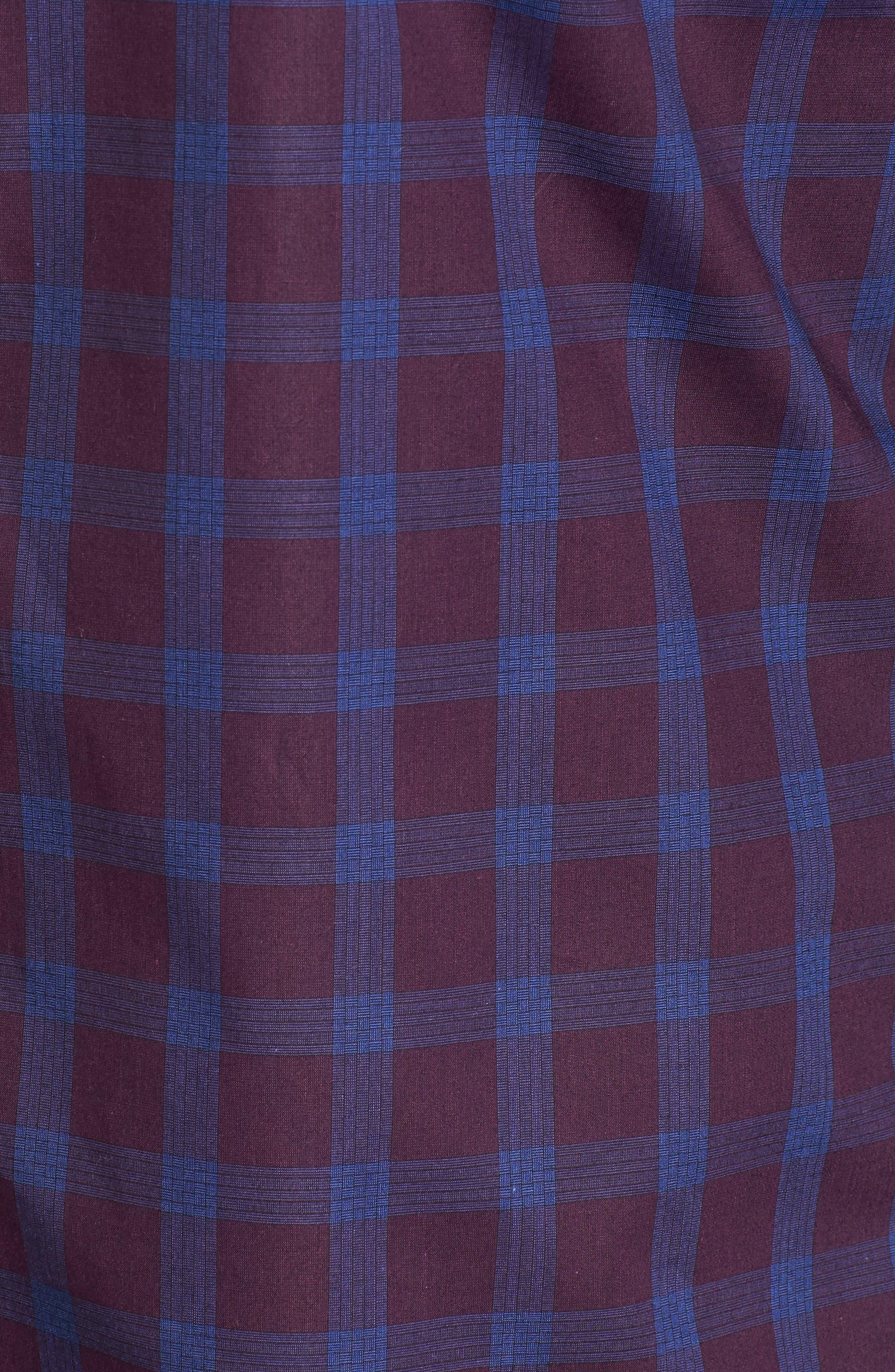 Raymond Check Sport Shirt,                             Alternate thumbnail 5, color,                             Burgundy