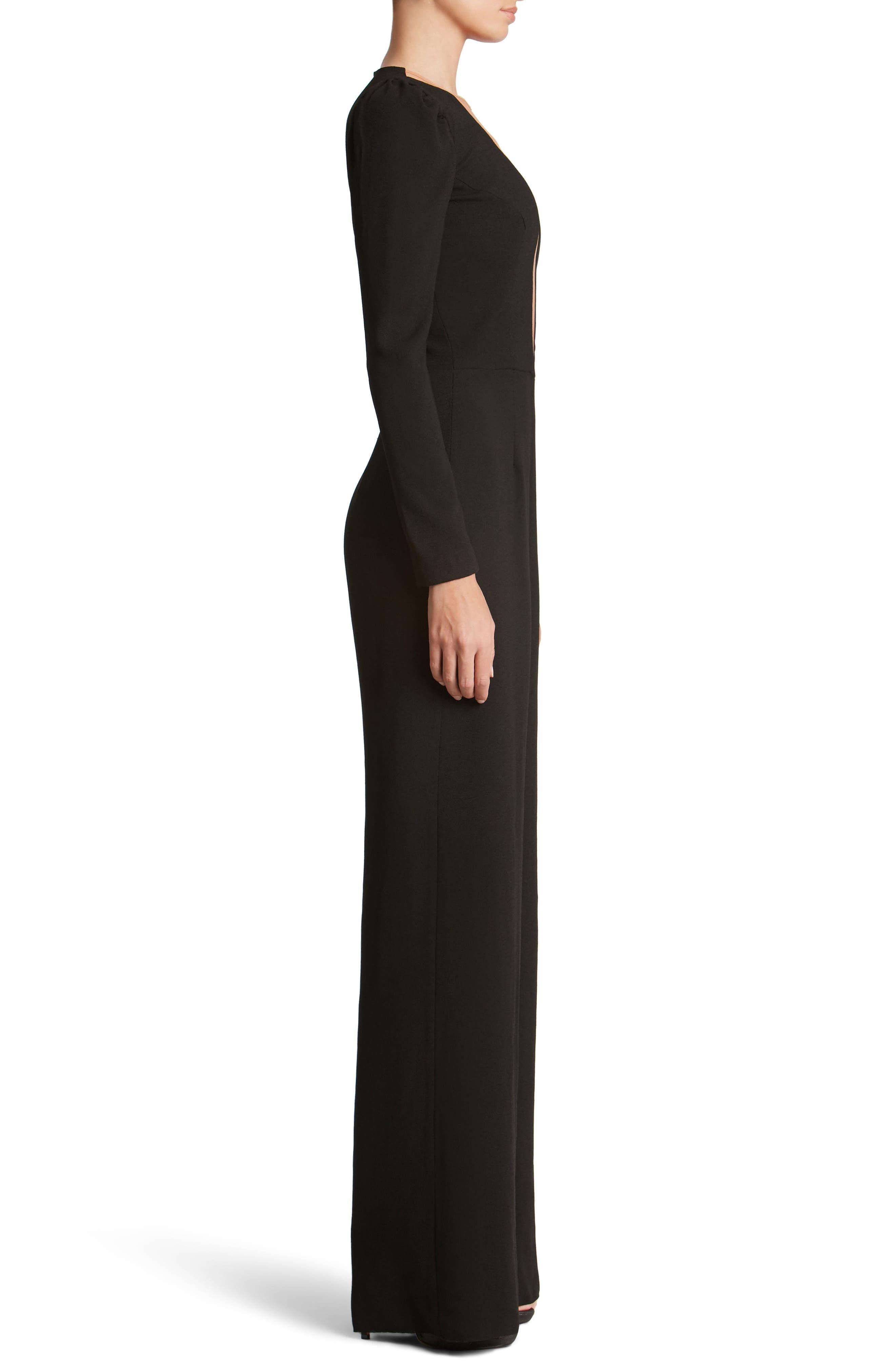 Alternate Image 3  - Dress the Population Drew Plunging Illusion Jumpsuit