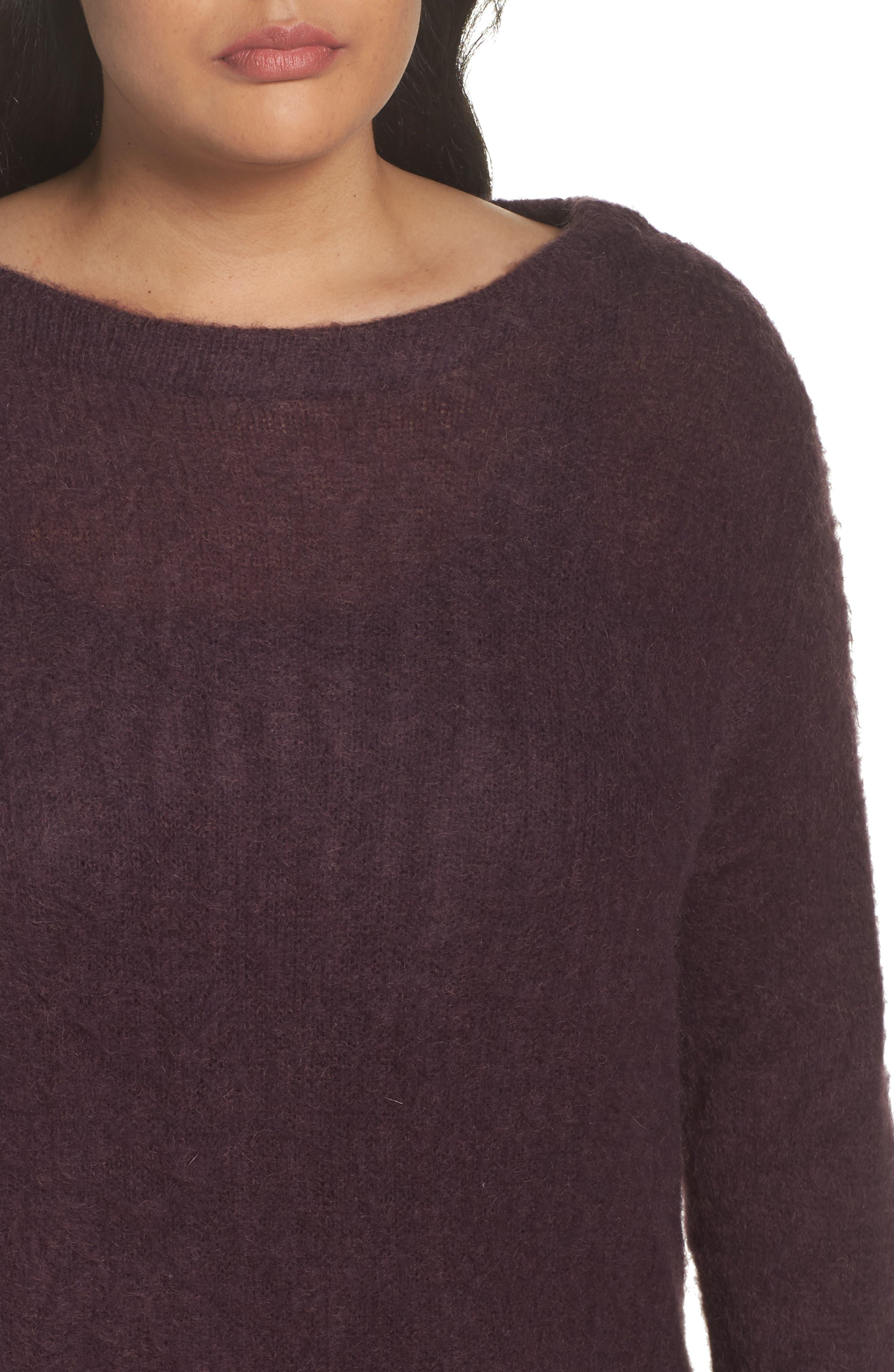 Long Sleeve Brushed Sweater,                             Alternate thumbnail 4, color,                             Purple Plum
