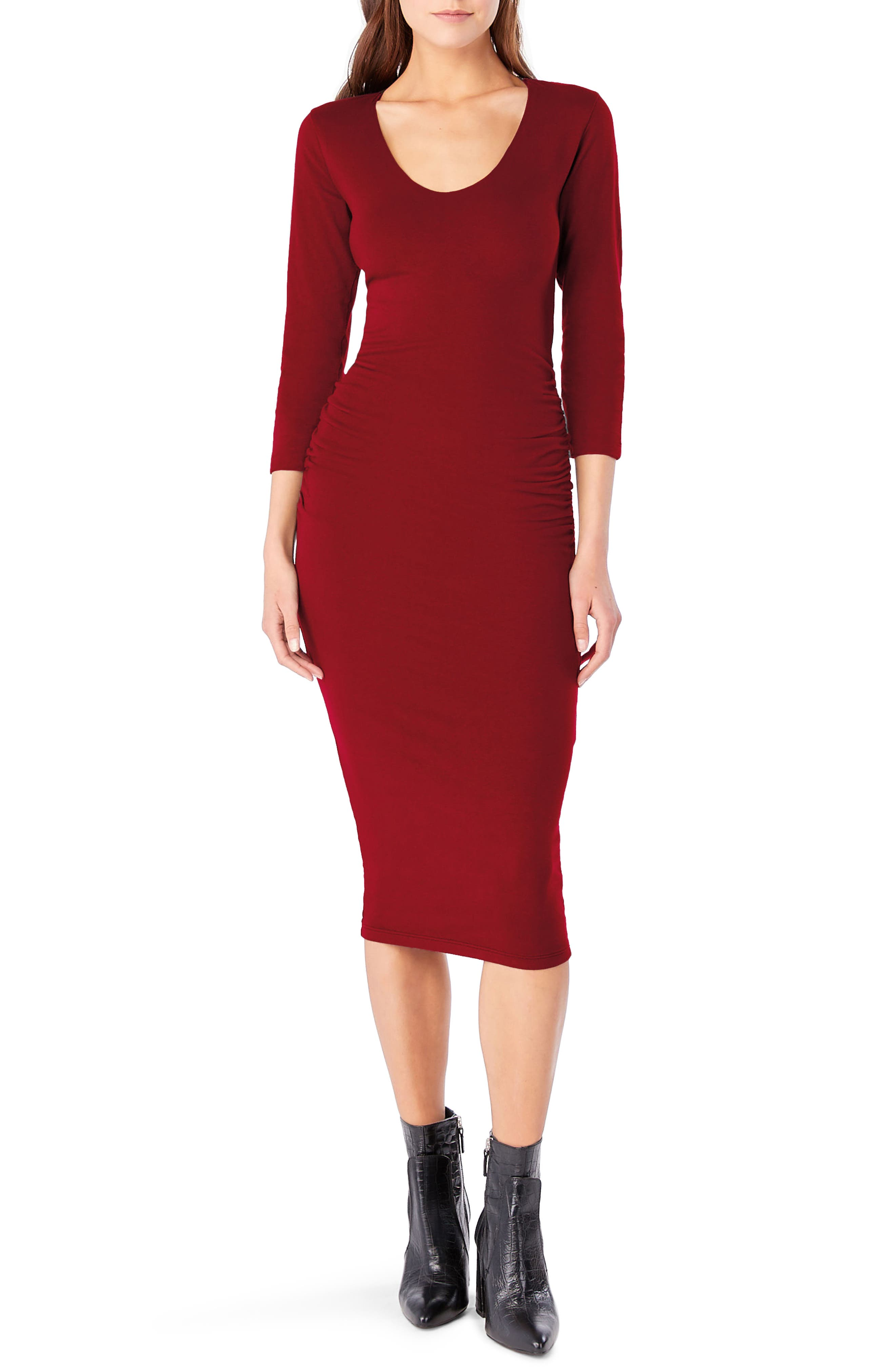Ruched Midi Dress,                         Main,                         color, Ruby