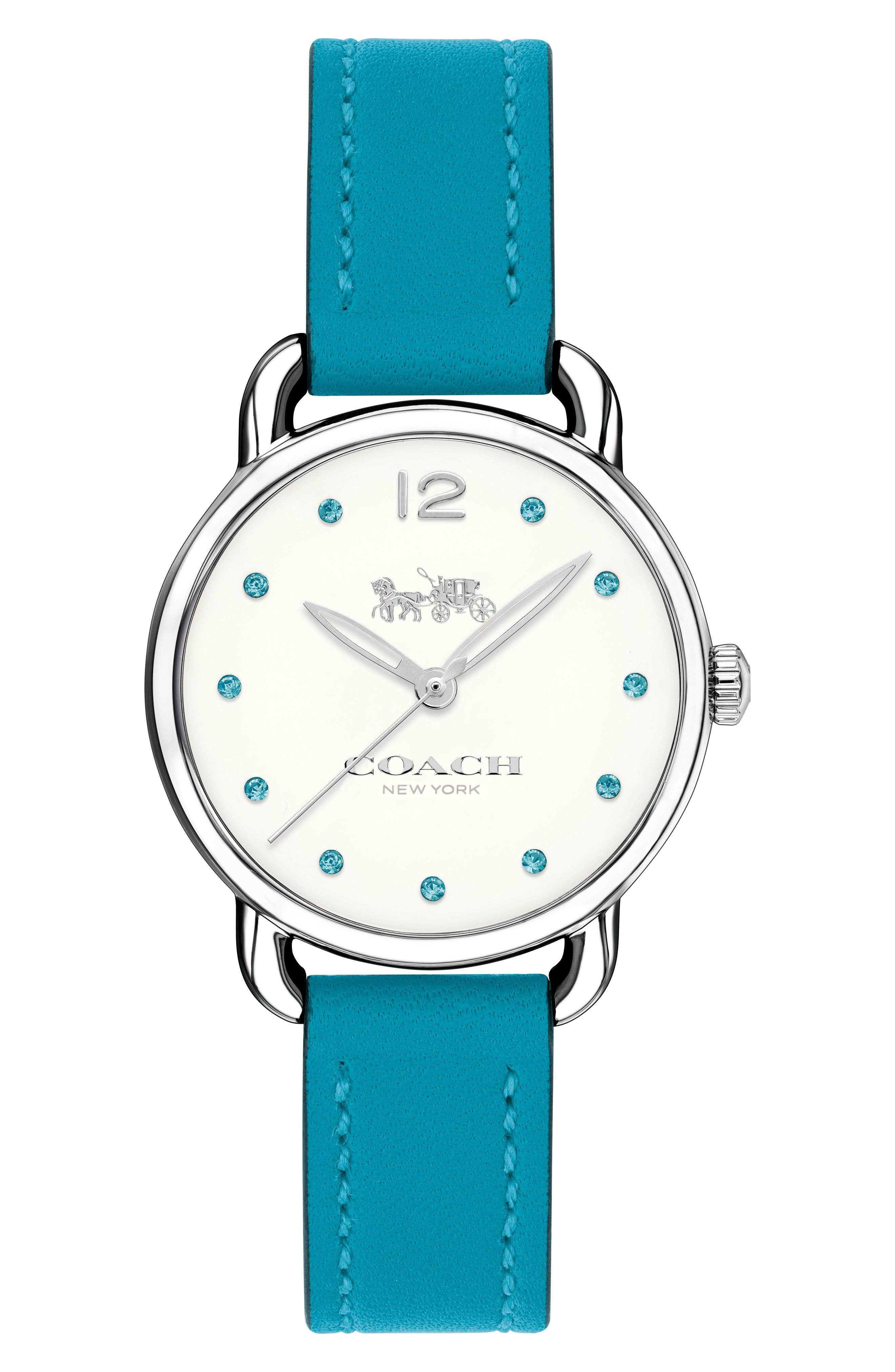 Delancey Crystal Accent Leather Strap Watch, 28mm,                         Main,                         color, Blue/ White/ Silver