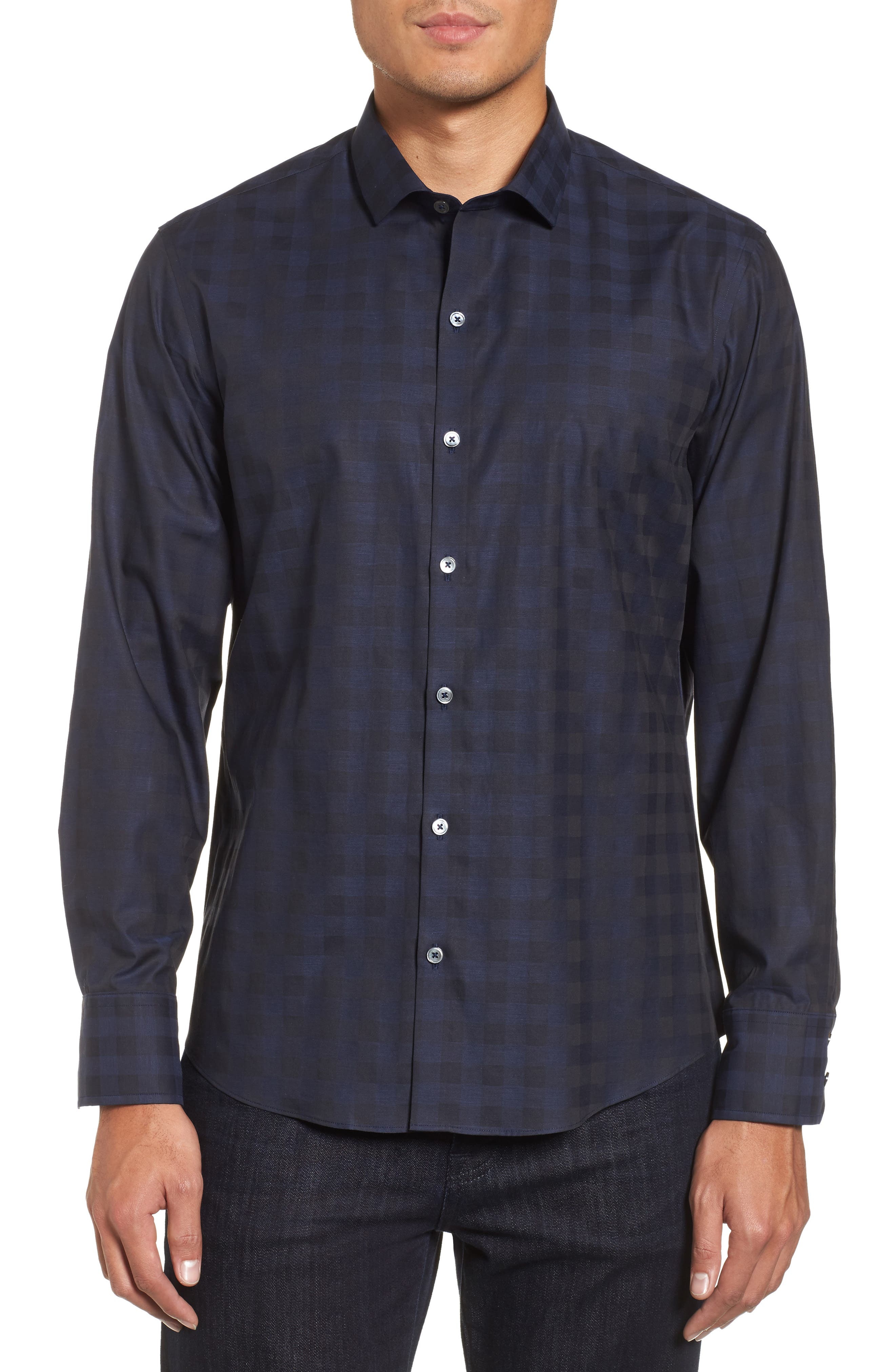 Torres Check Sport Shirt,                         Main,                         color, Navy