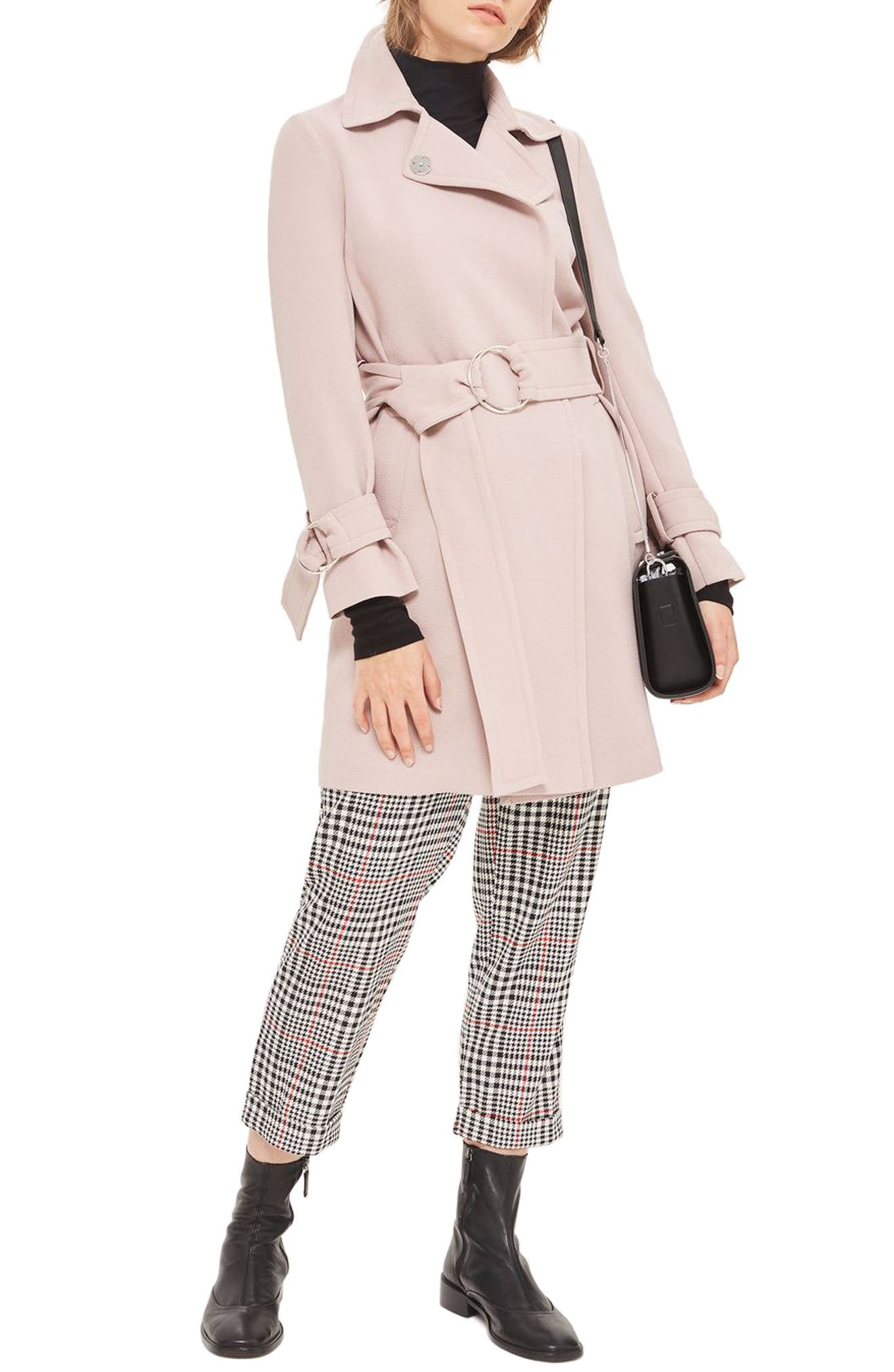 Daisy Crepe Truster Trench Coat,                         Main,                         color, Dusty Pink