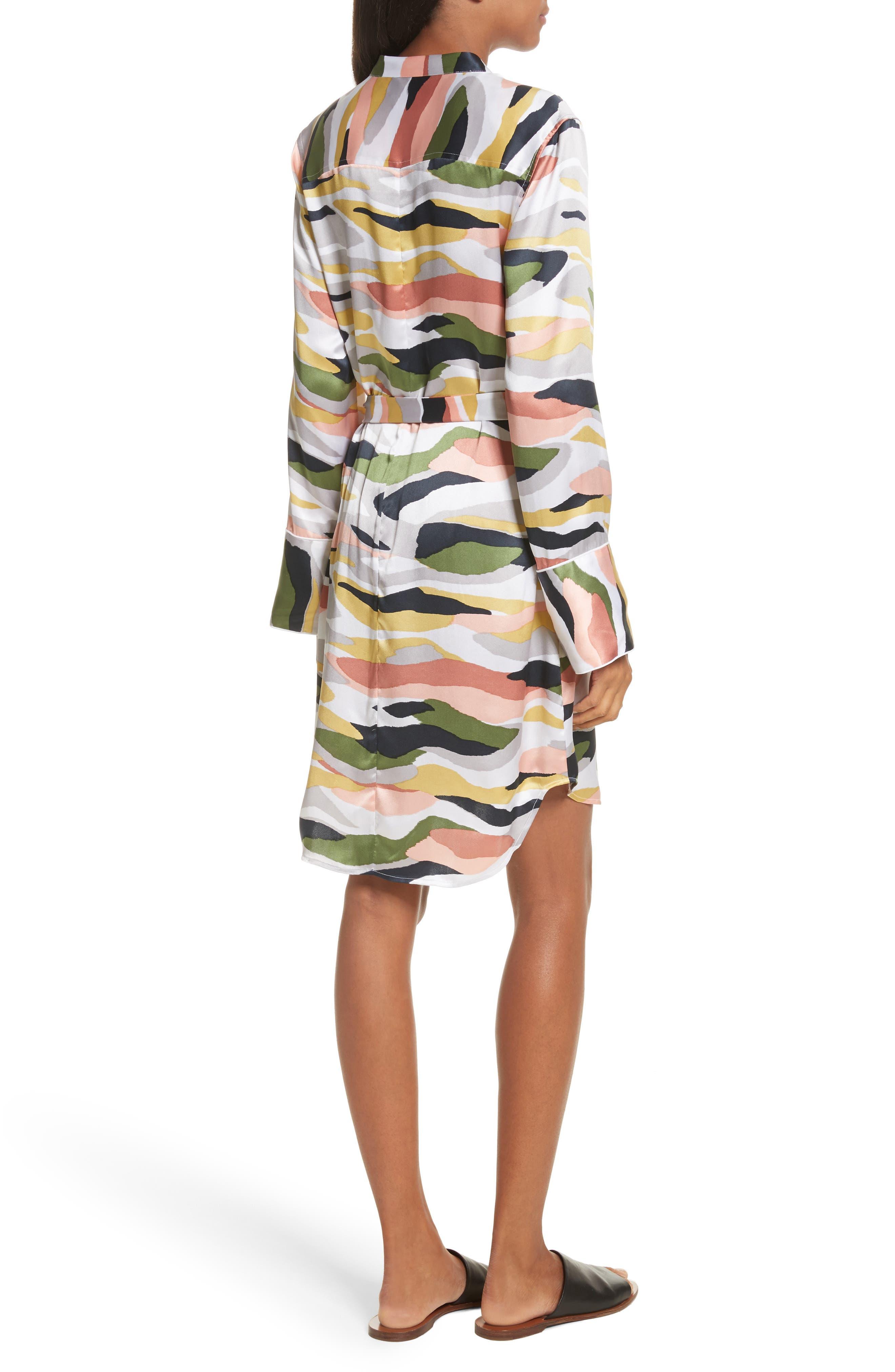 Britten Tie-Waist Silk Dress,                             Alternate thumbnail 2, color,                             Bright White Multi