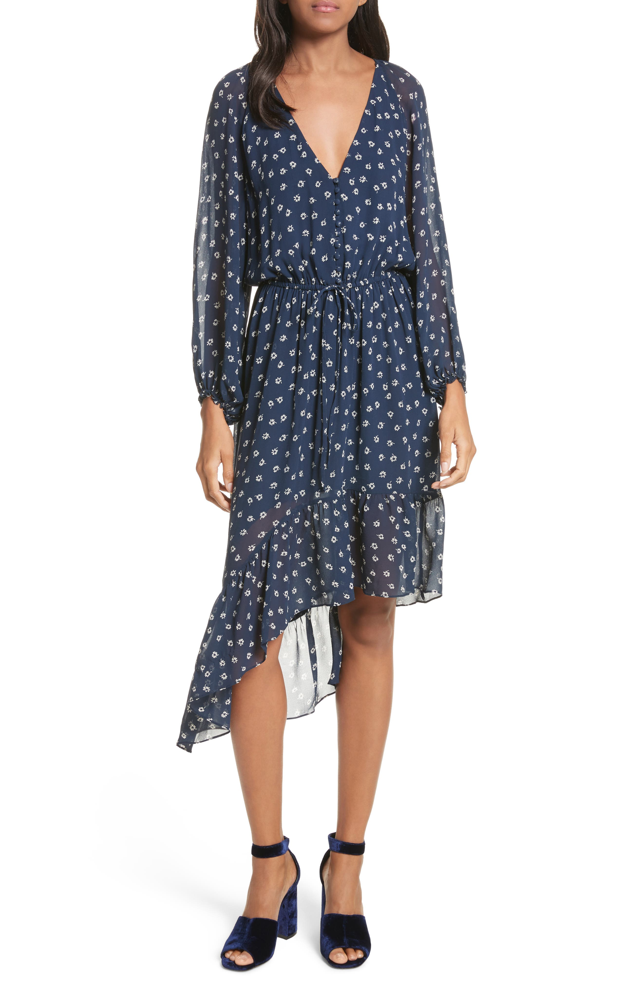 Alithea Print Silk Asymmetrical Dress,                         Main,                         color, Dark Navy