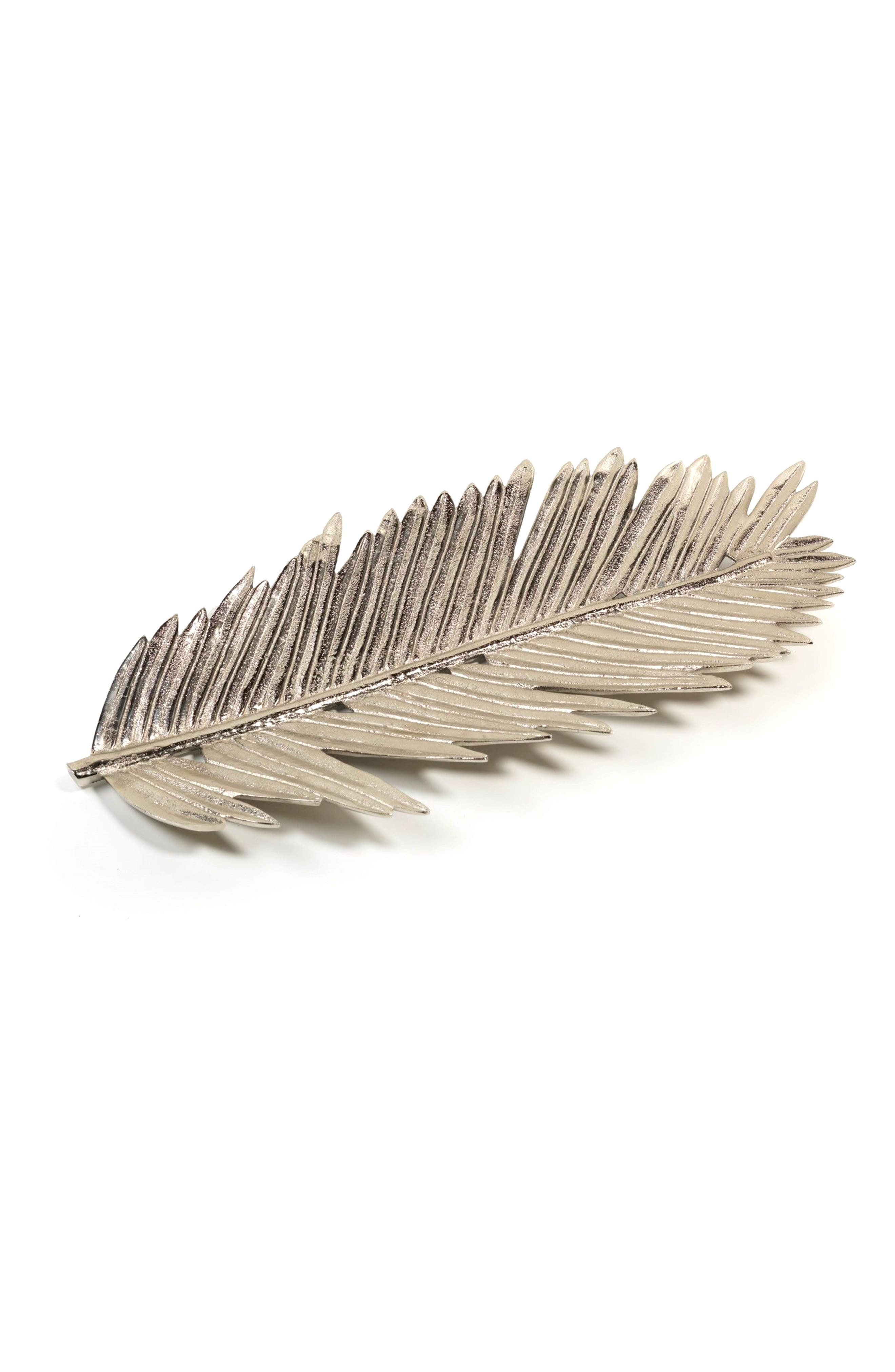 Pinnate Feather Palm Decorative Tray,                         Main,                         color, Silver
