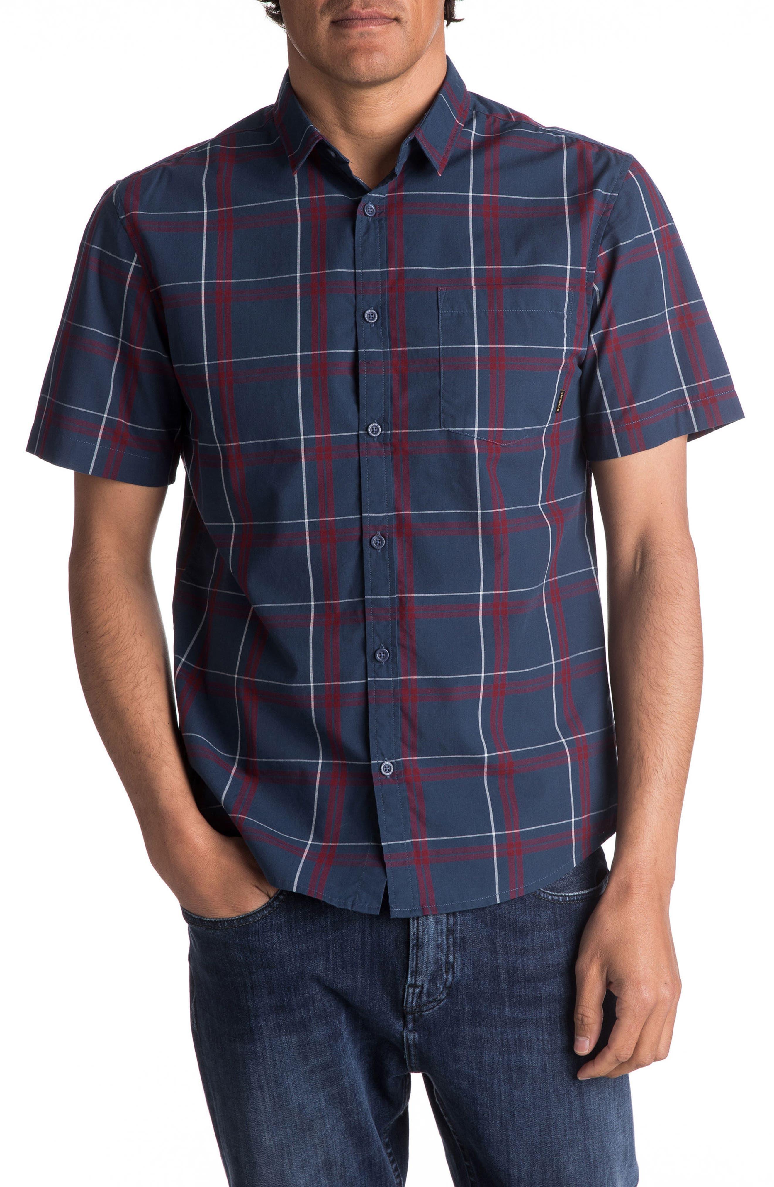 Capen Rise Check Woven Shirt,                         Main,                         color, Dark Denim Cape