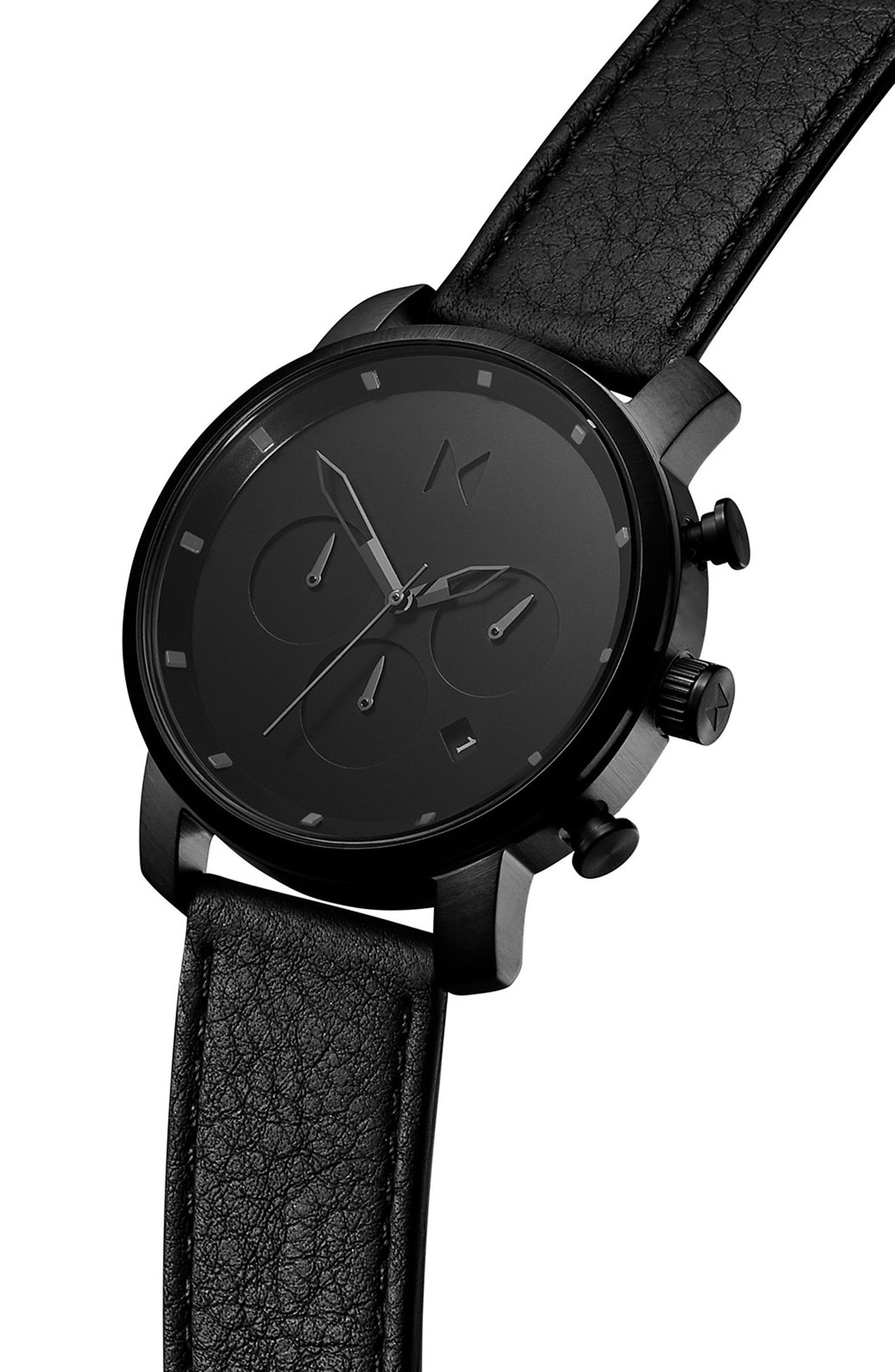 Chrono Chronograph Leather Strap Watch, 40mm,                             Alternate thumbnail 3, color,                             All Black