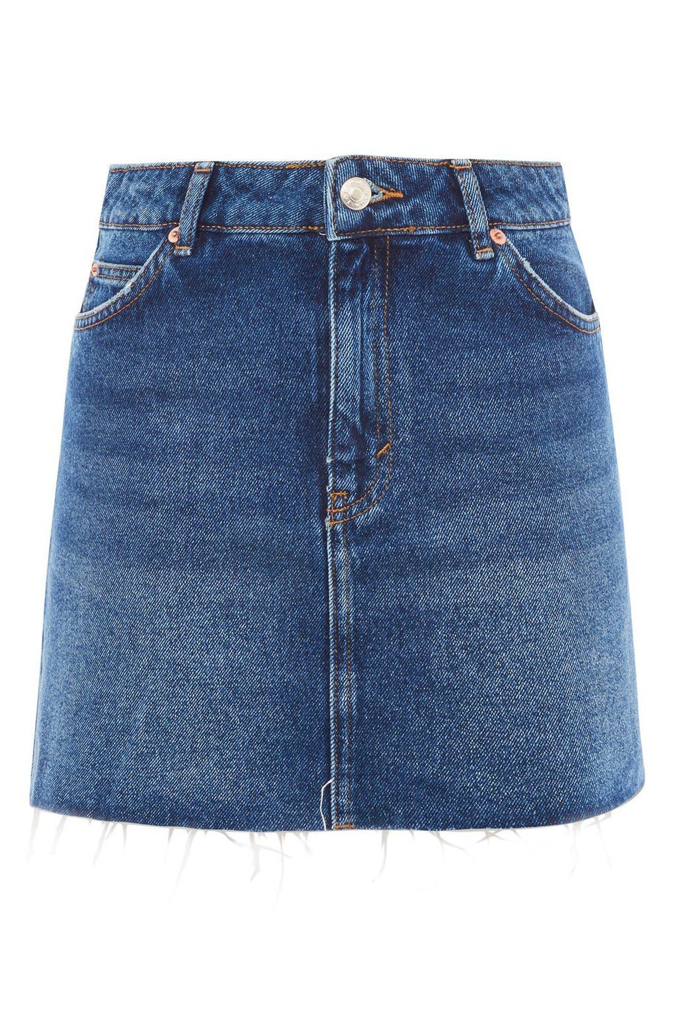 Frayed Hem Denim Miniskirt,                             Alternate thumbnail 3, color,                             Mid Denim