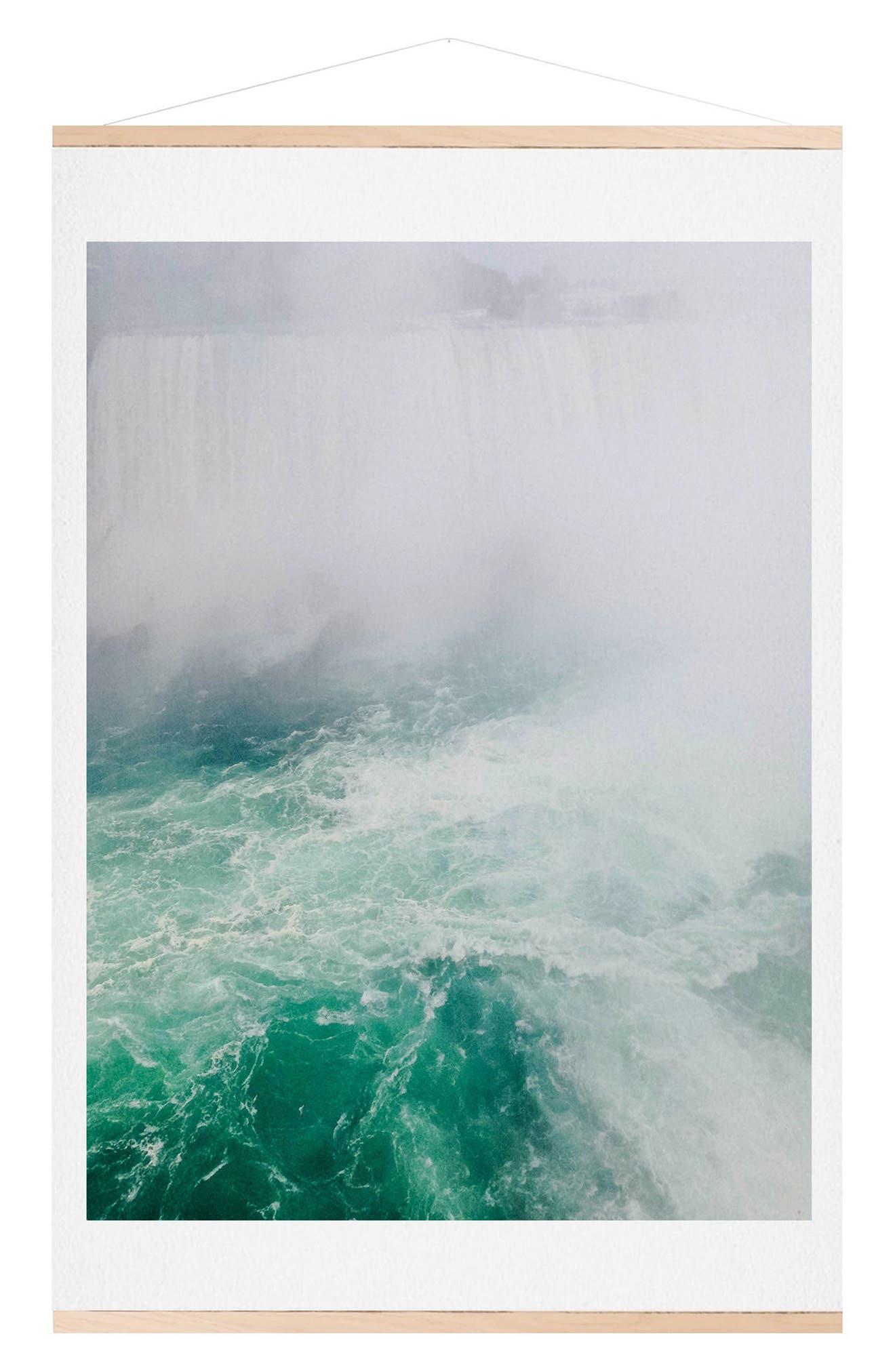 The Falls Print & Oak Hanger,                             Main thumbnail 1, color,                             Green