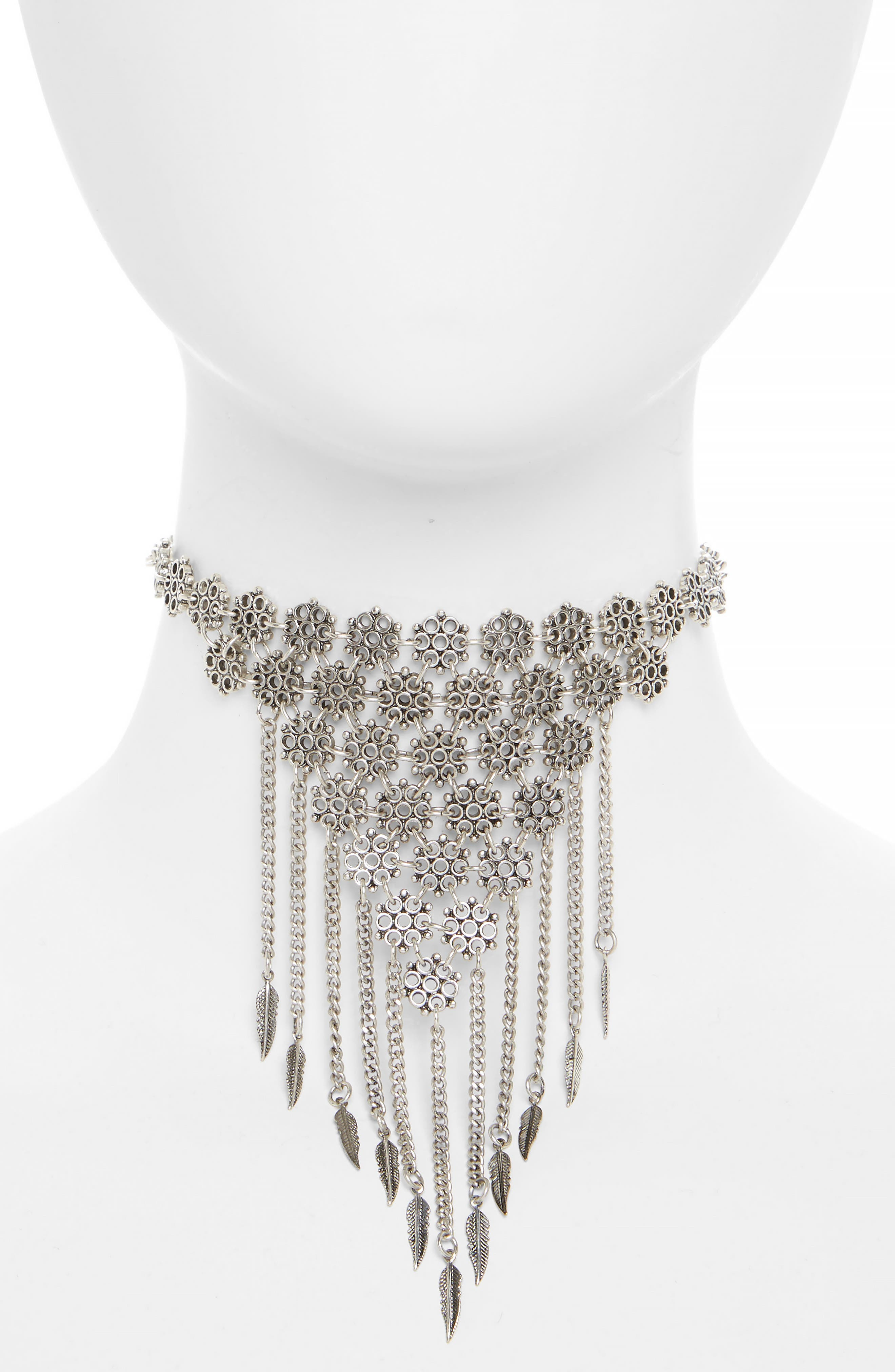 Flower Cluster Collar Choker,                         Main,                         color, Silver
