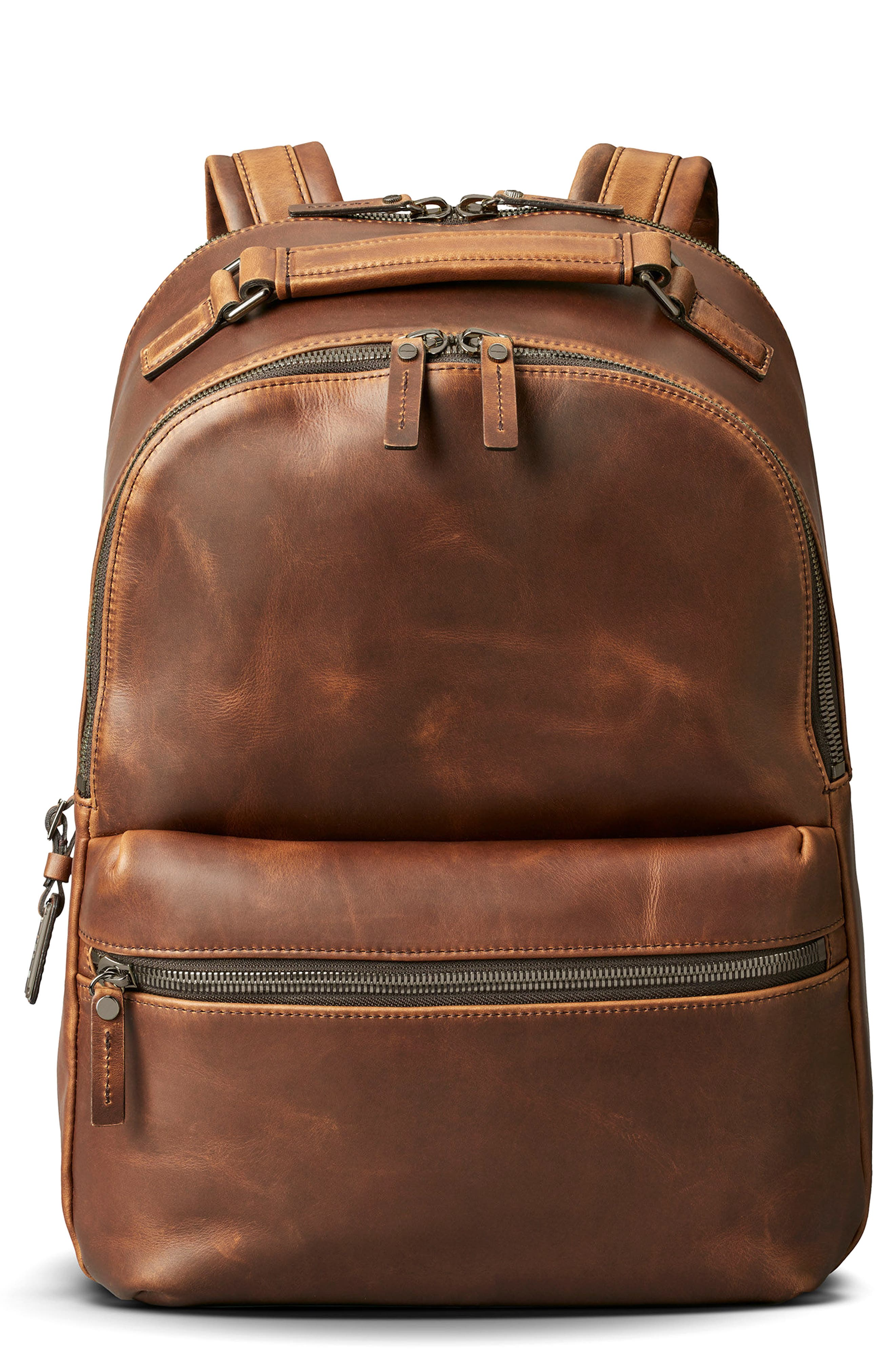 Runwell Leather Backpack,                             Main thumbnail 1, color,                             Medium Brown