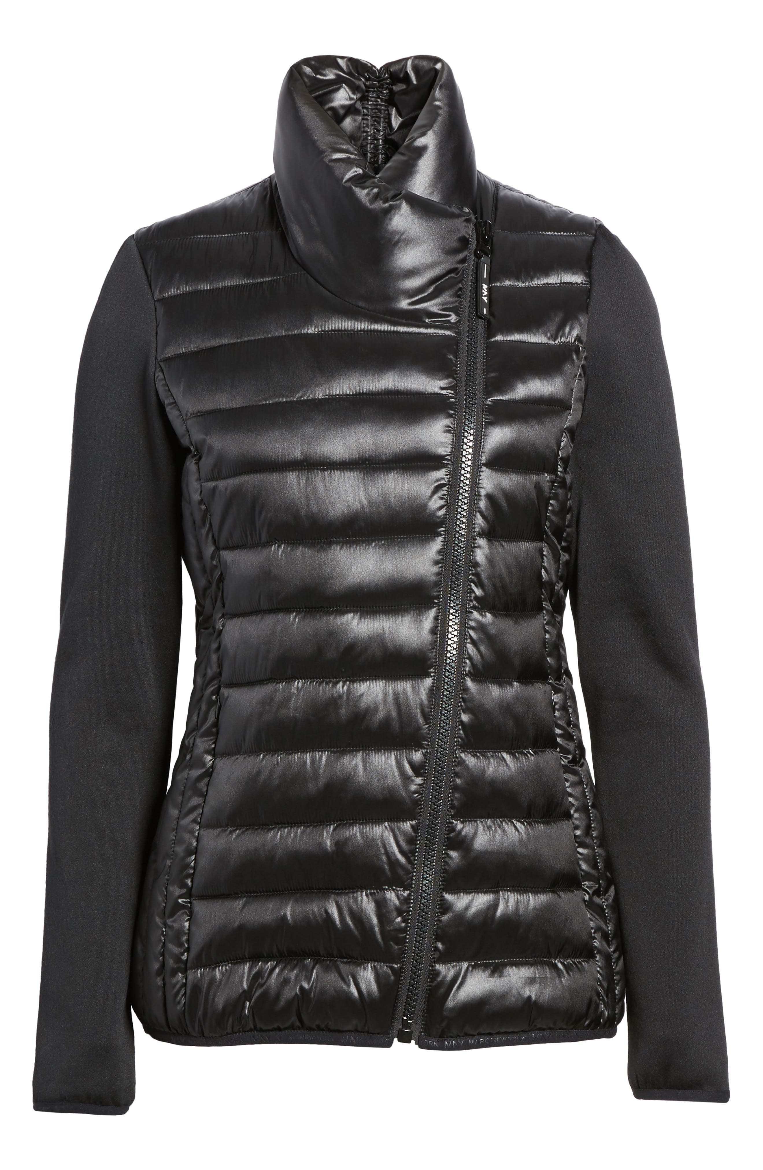 Knit Sleeve Packable Puffer Jacket,                             Alternate thumbnail 5, color,                             Black