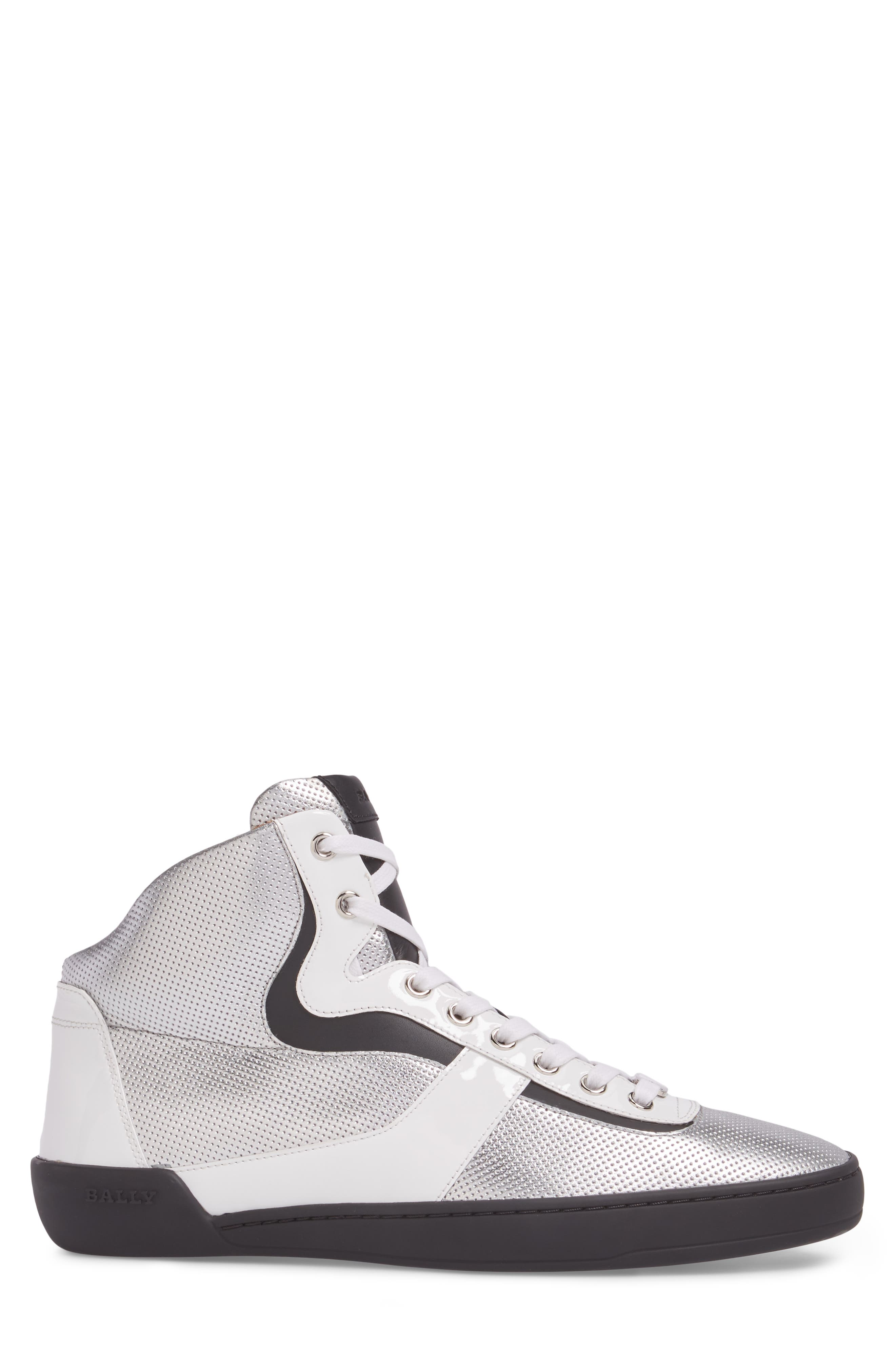 Eroy High Top Sneaker,                             Alternate thumbnail 3, color,                             Silver