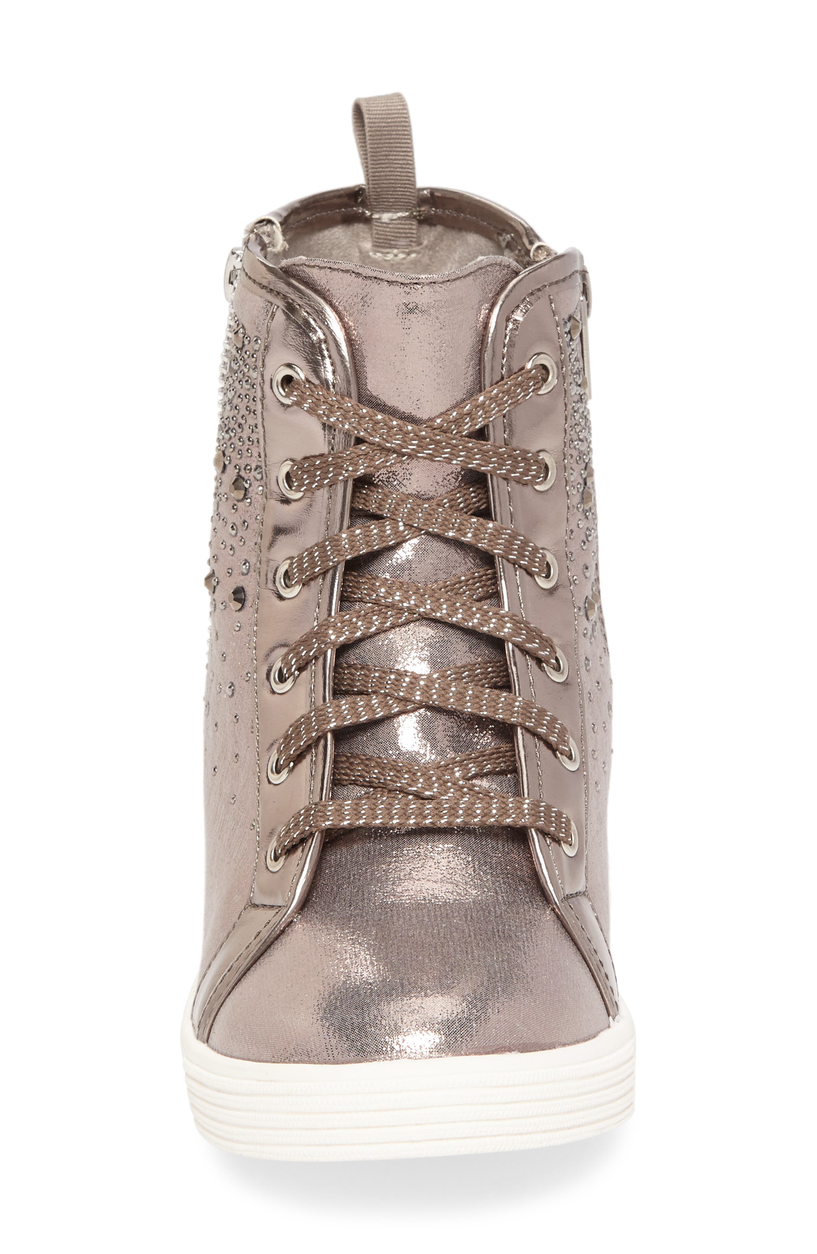 Vance Double Embellished Concealed Wedge High Top,                             Alternate thumbnail 4, color,                             Pewter