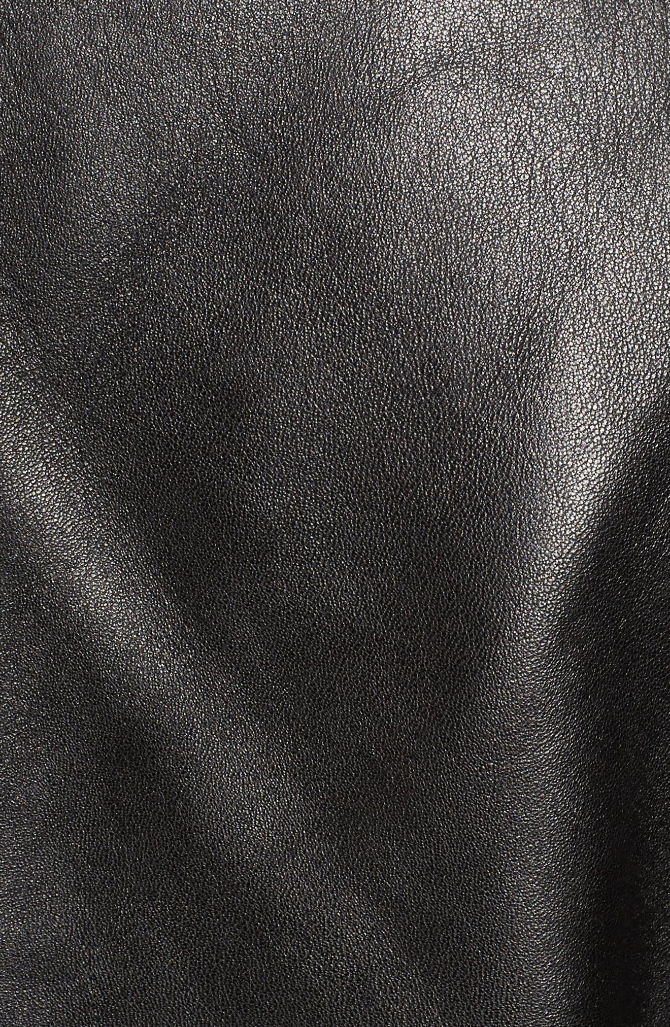 Laston Leather Moto Jacket,                             Alternate thumbnail 5, color,                             Black