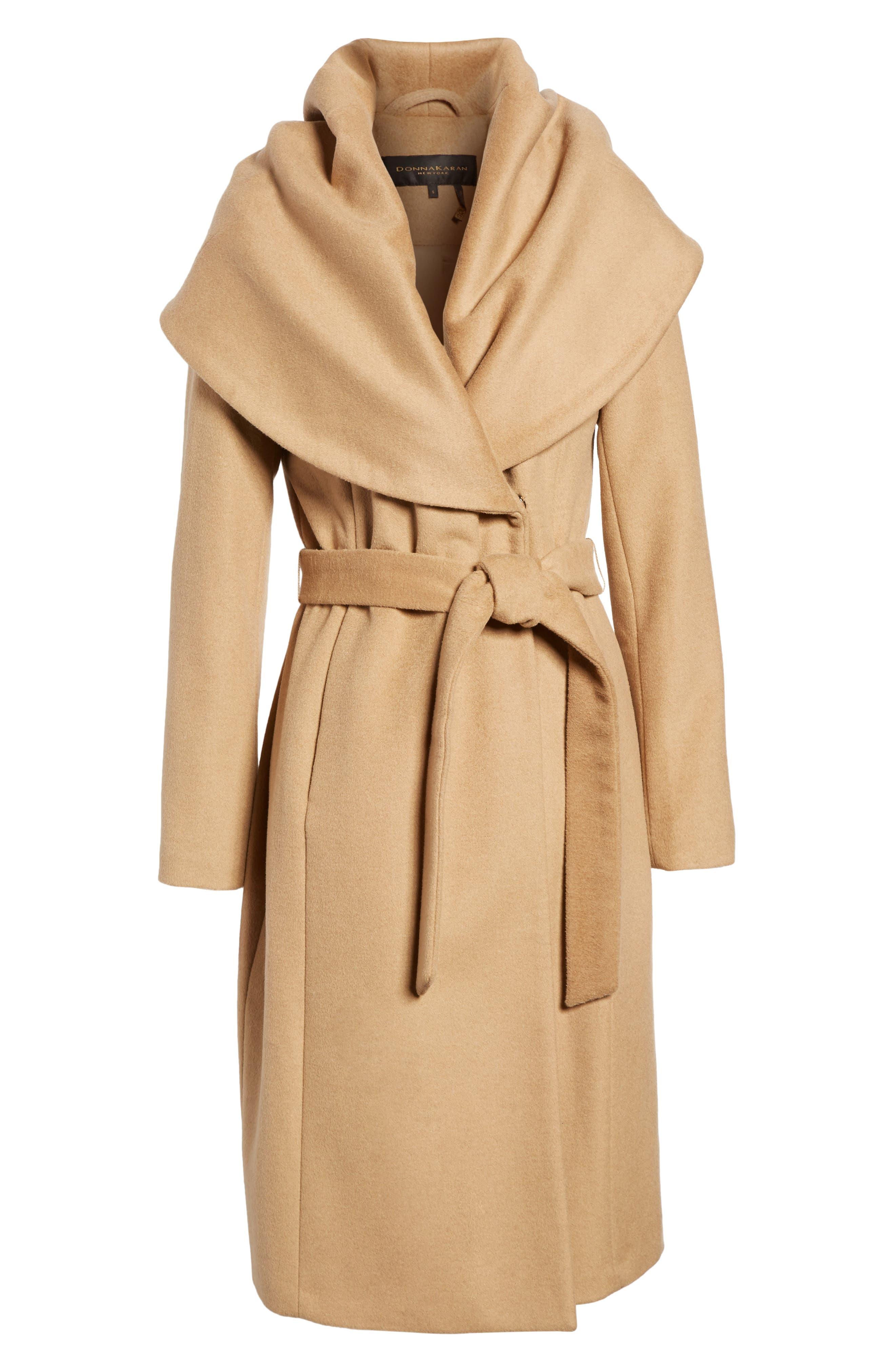 DKNY Wool Blend Shawl Collar Wrap Coat,                             Alternate thumbnail 6, color,                             Camel