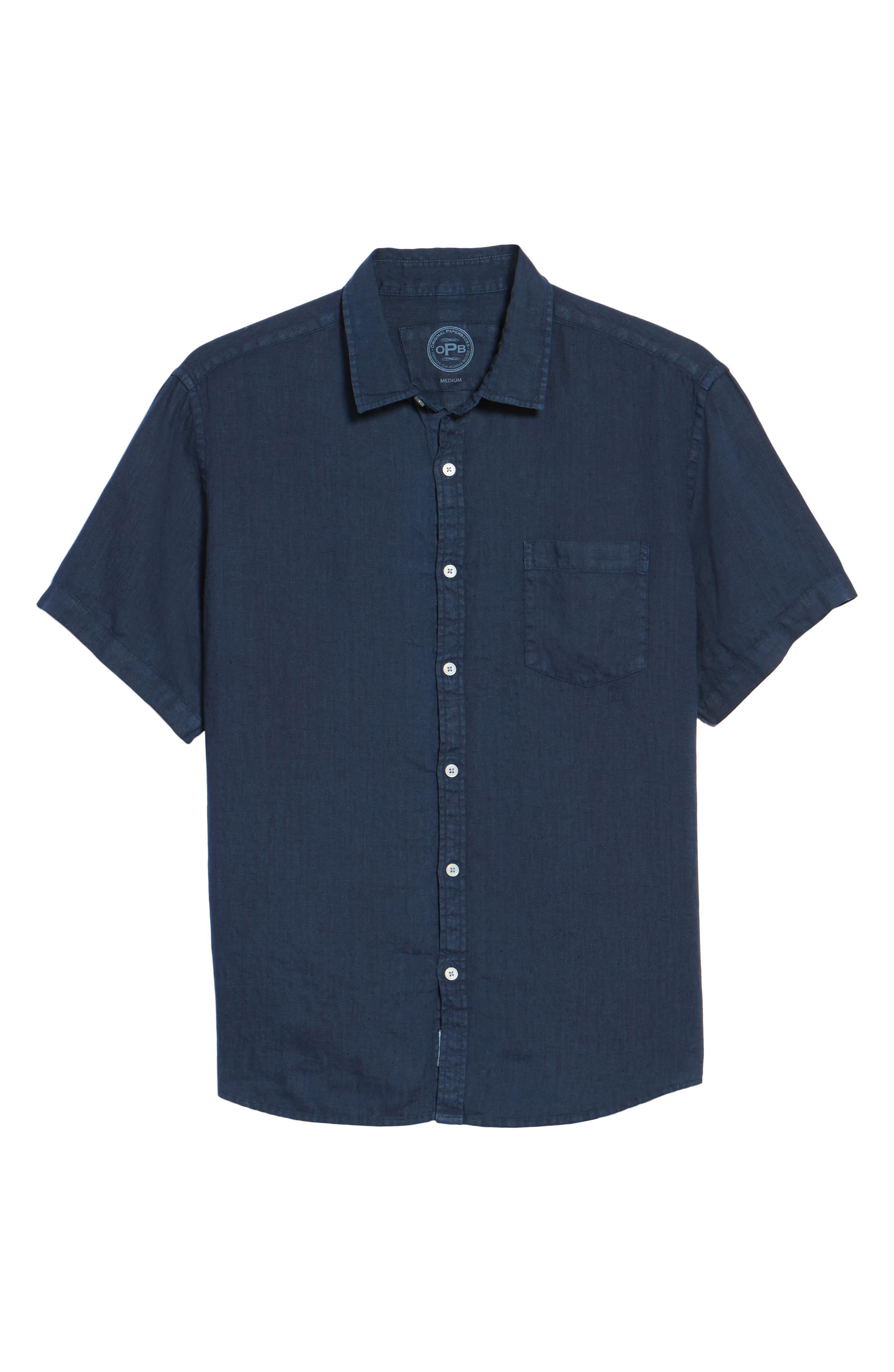 Alternate Image 6  - Original Paperbacks Rome Trim Fit Linen Sport Shirt