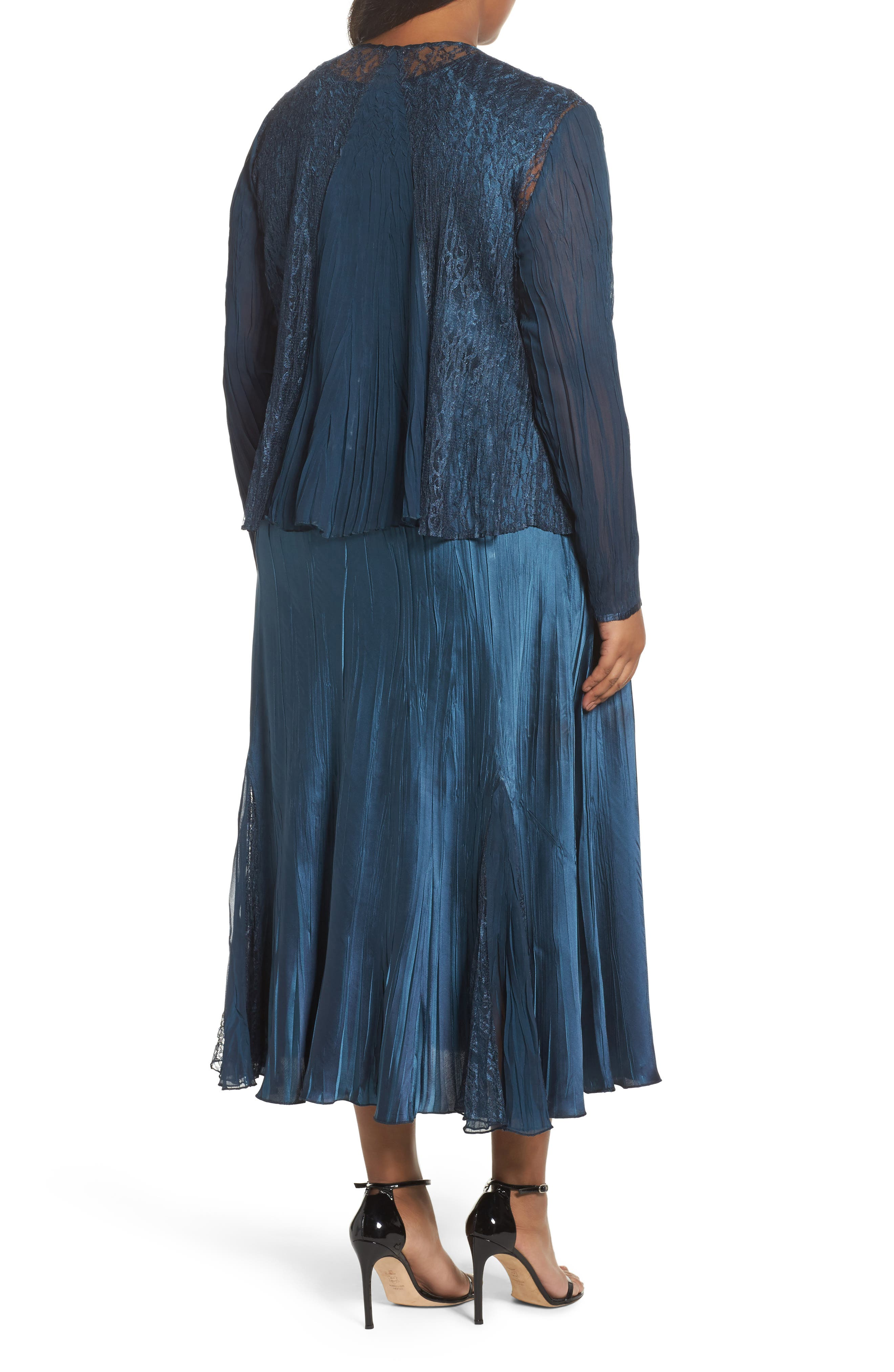 Lace Front Dress with Jacket,                             Alternate thumbnail 2, color,                             Moroccan Blue Ombre