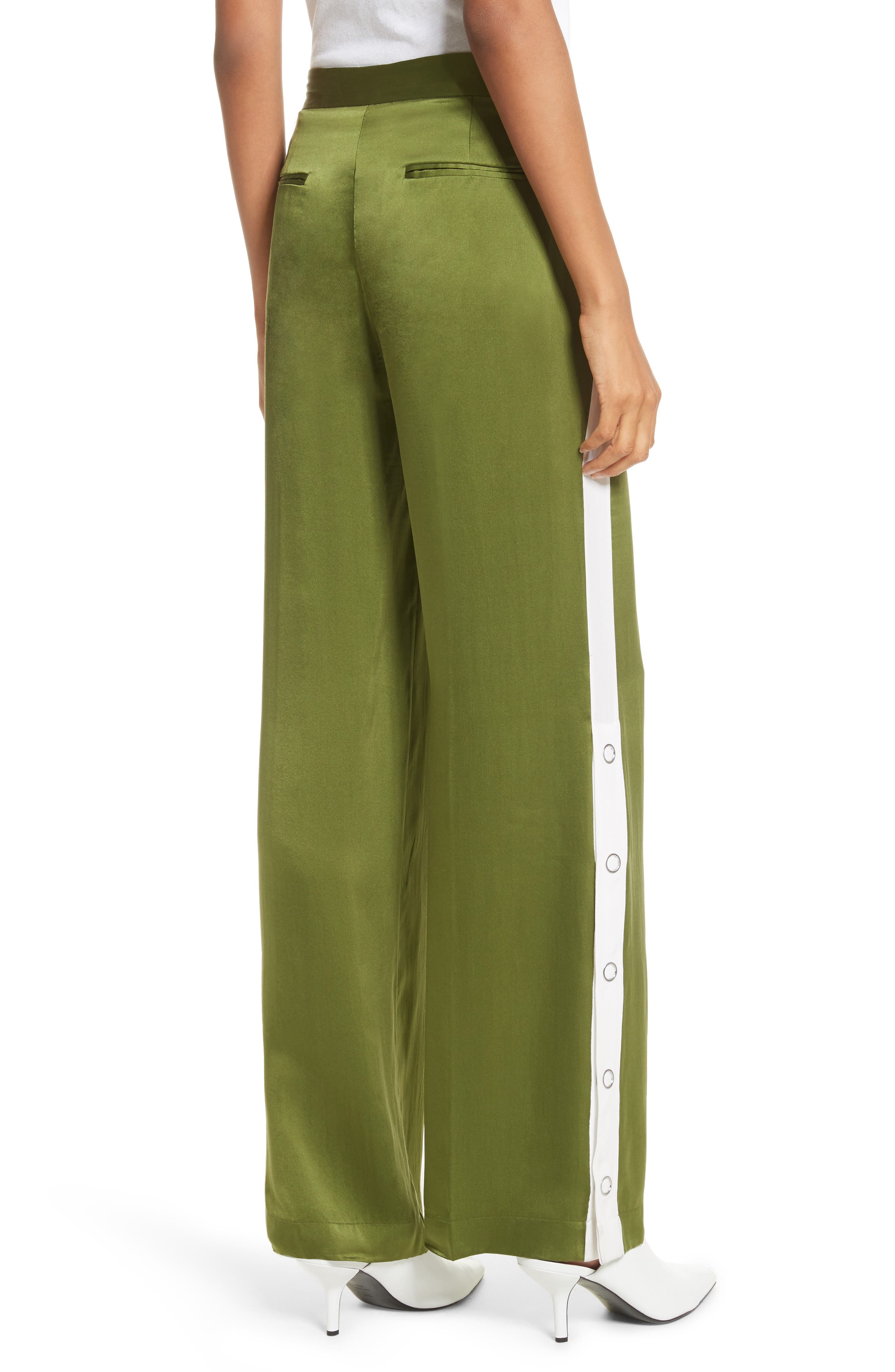Arwen Wide Leg Silk Pants,                             Alternate thumbnail 2, color,                             Combat Green