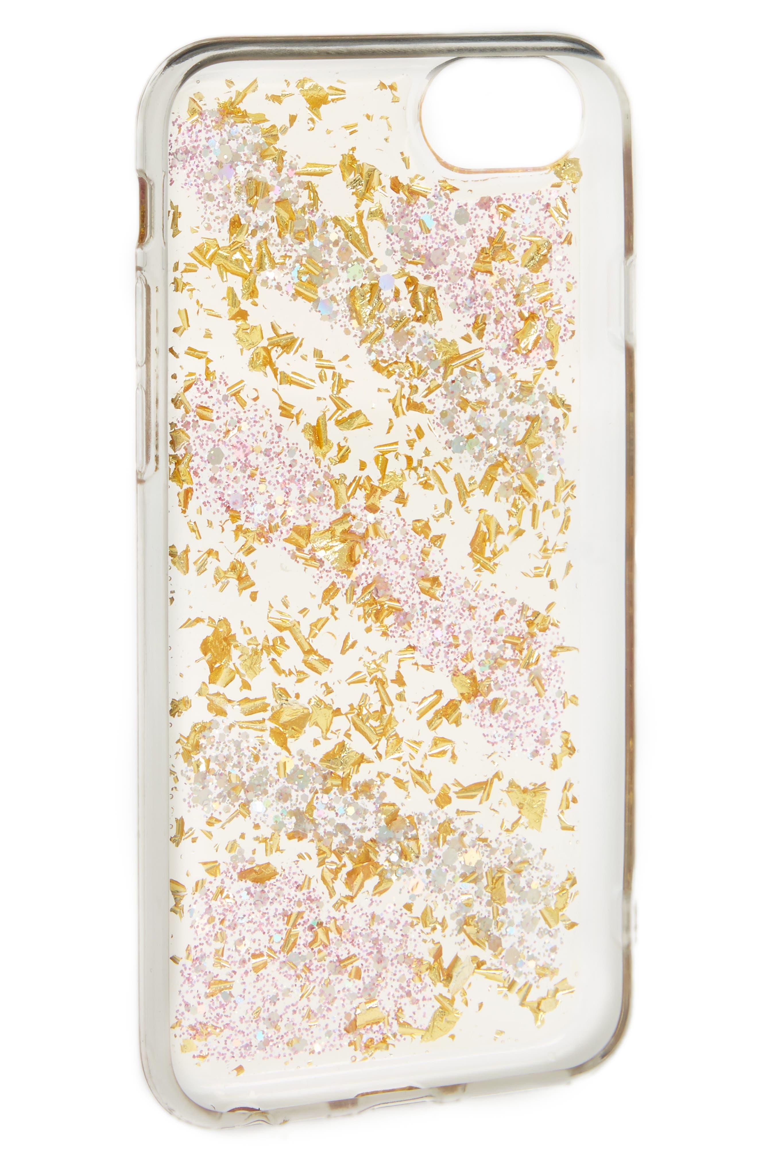 Glitter Stripe iPhone 6/6s/7 Case,                             Alternate thumbnail 2, color,                             Pink Gold