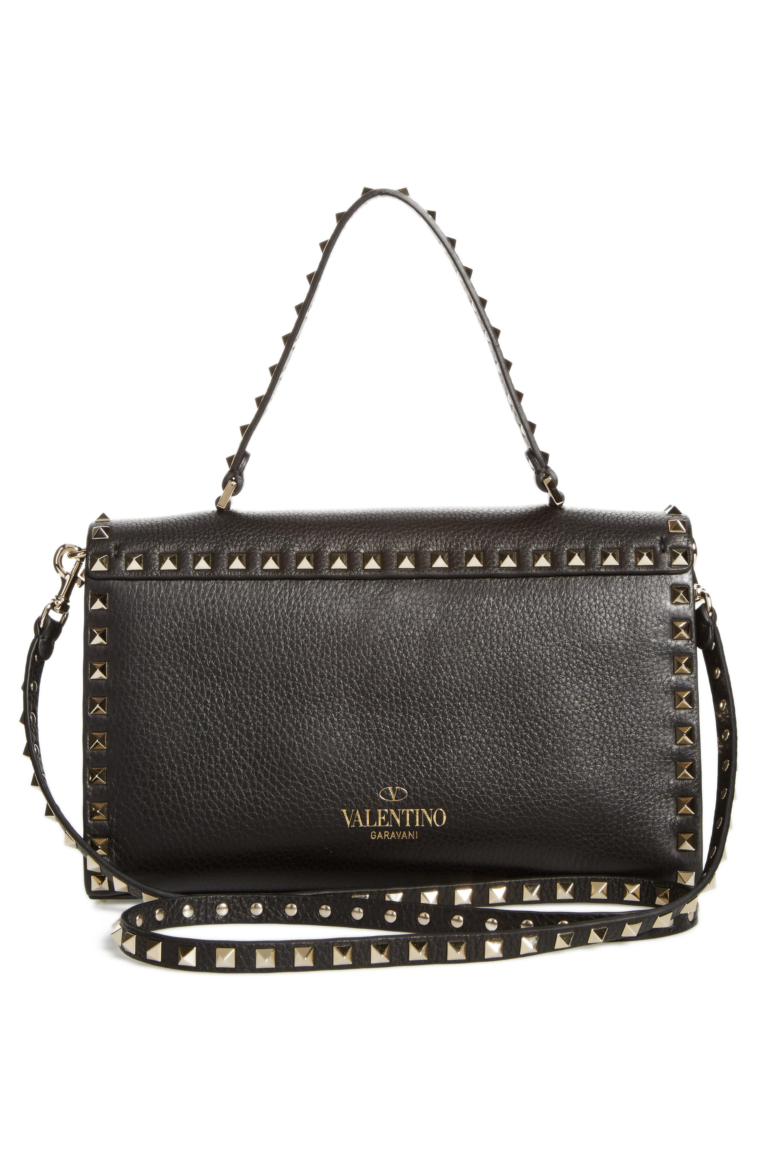 Small Rockstud Leather Single Handle Shoulder Bag,                             Alternate thumbnail 3, color,                             Black