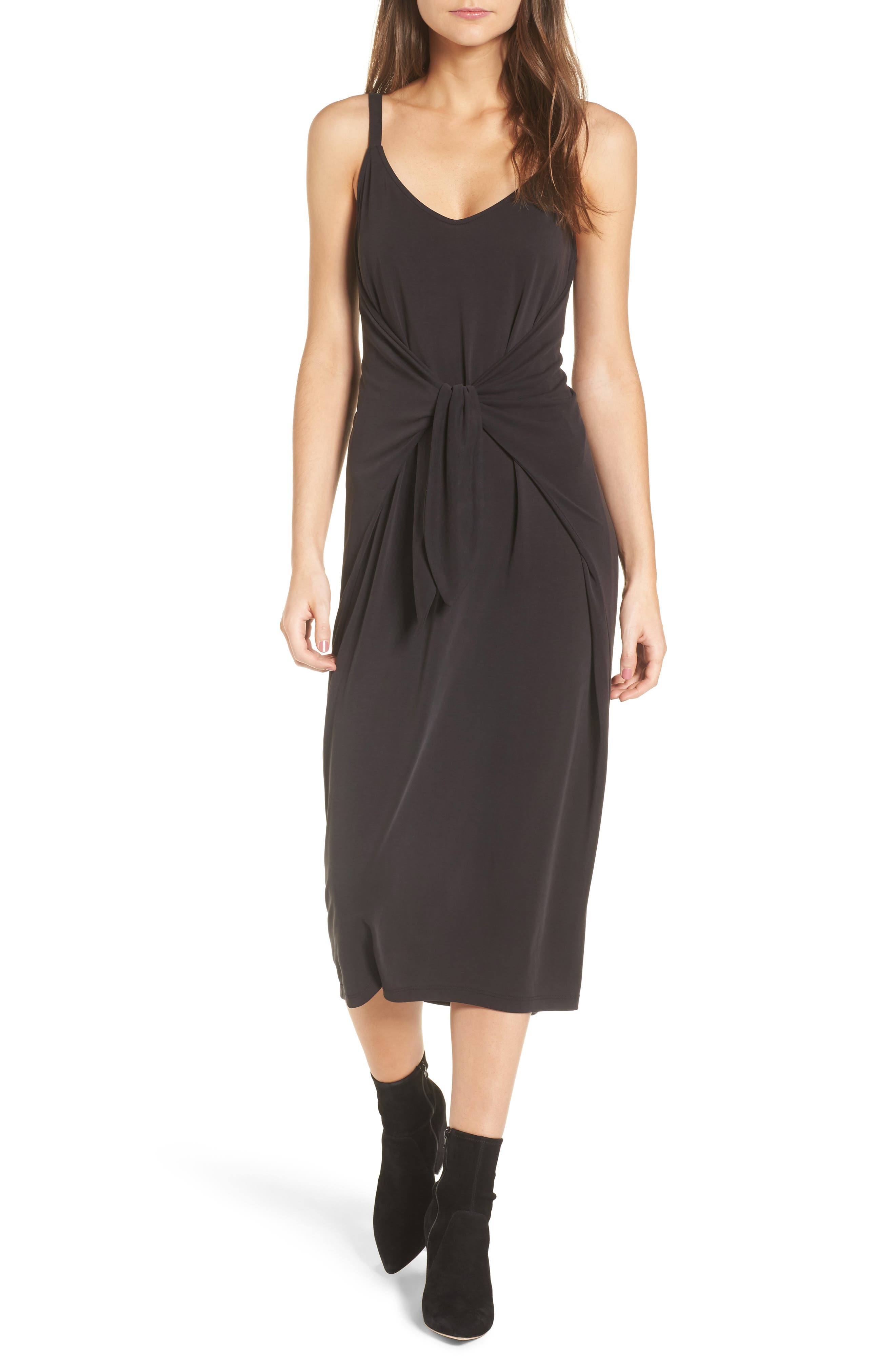 Knotted Midi Dress,                             Main thumbnail 1, color,                             Black