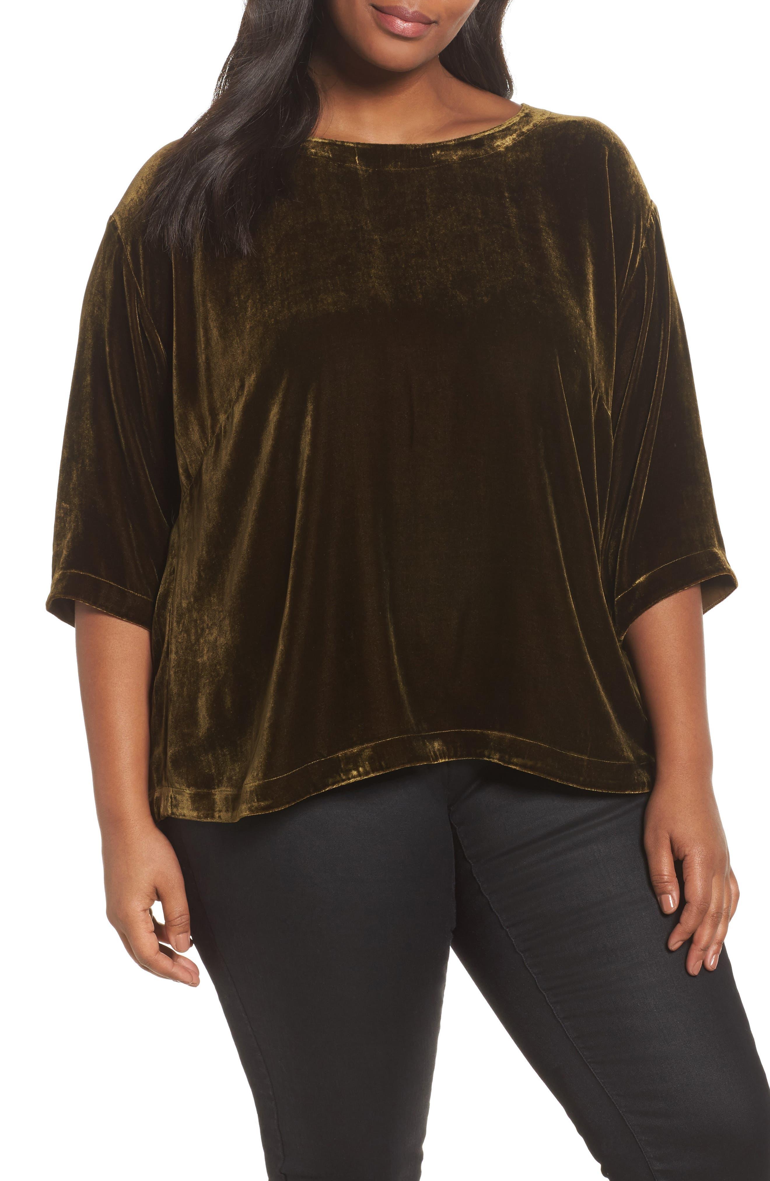 Eileen Fisher Boxy Velvet Top (Plus Size)