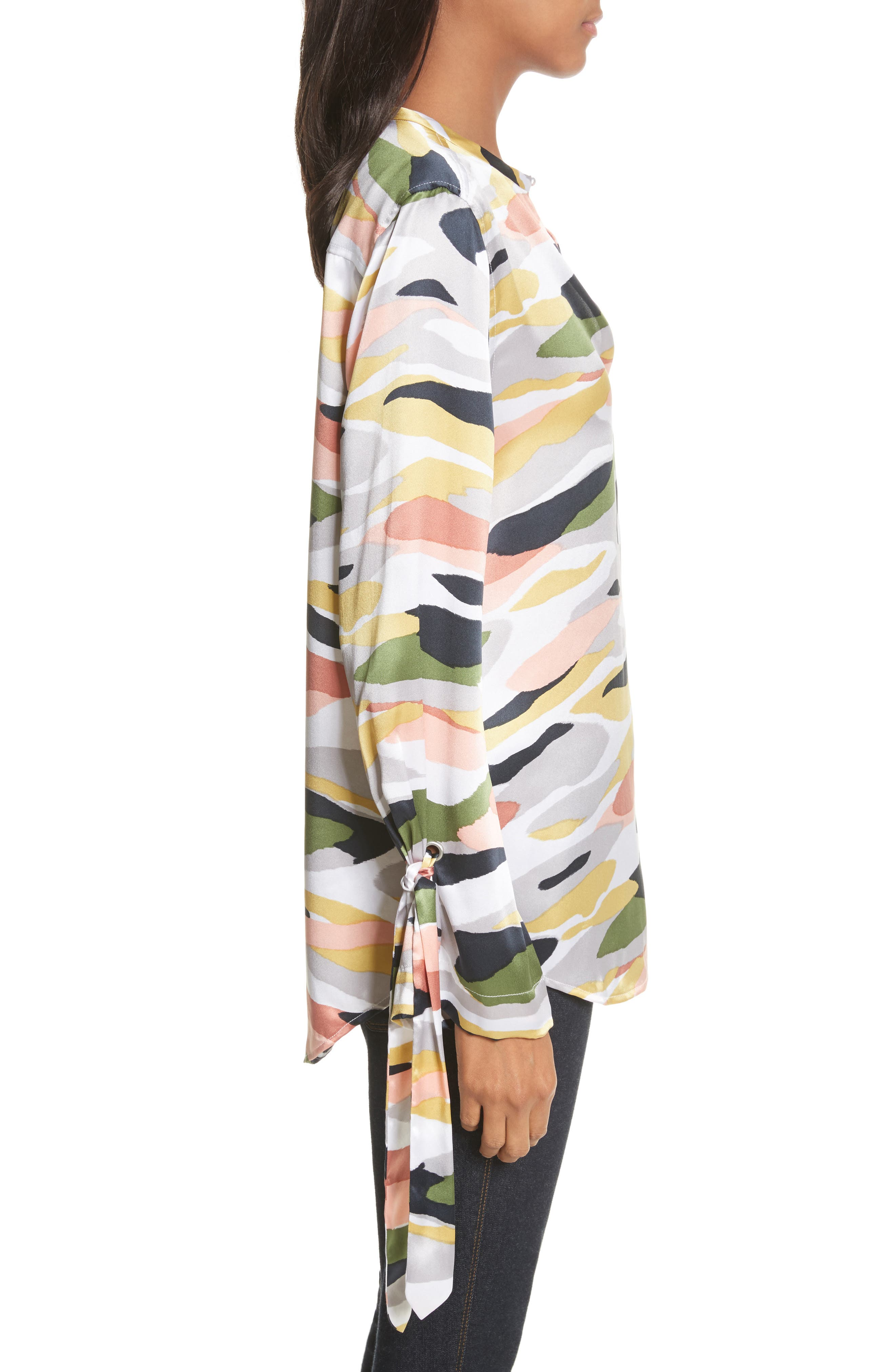 Sayer Tie-Sleeve Silk Top,                             Alternate thumbnail 3, color,                             Bright White Multi