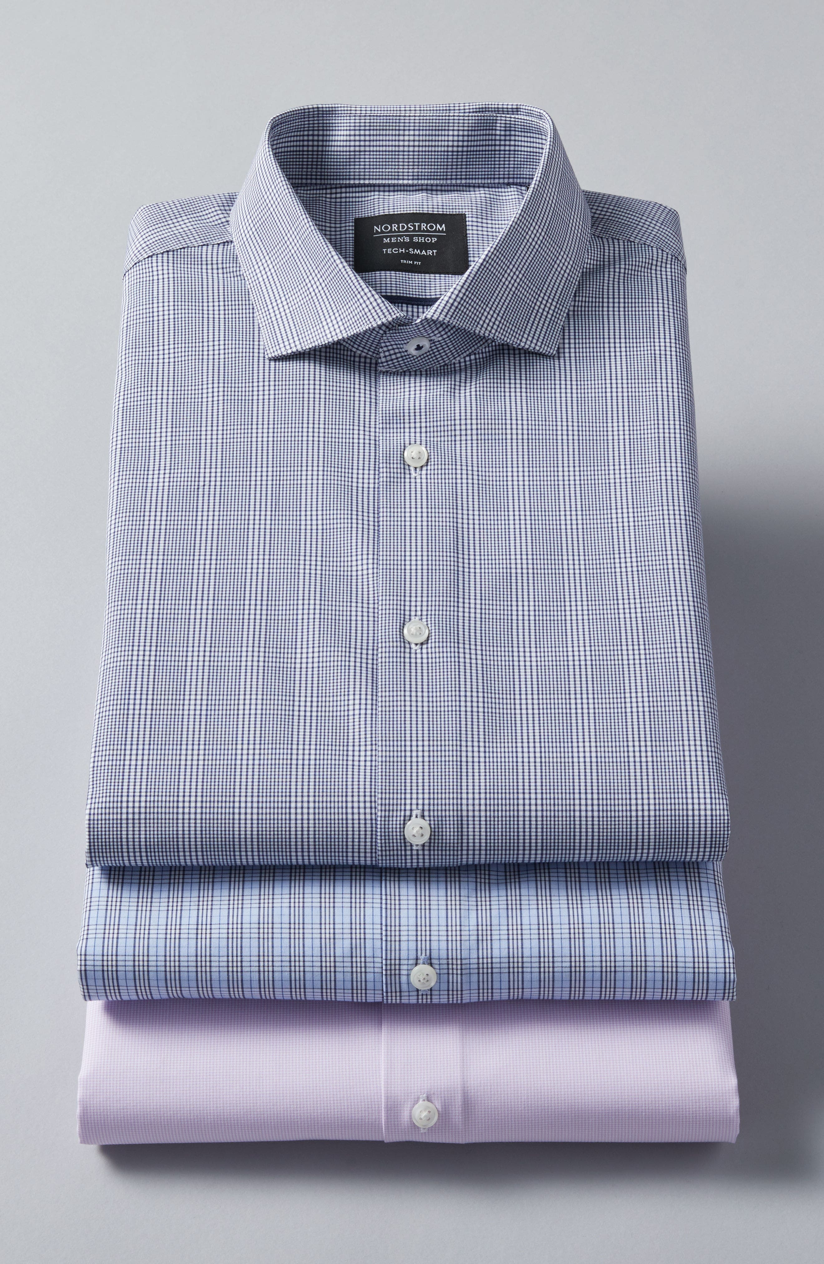 Tech-Smart Trim Fit Stretch Plaid Dress Shirt,                             Alternate thumbnail 6, color,