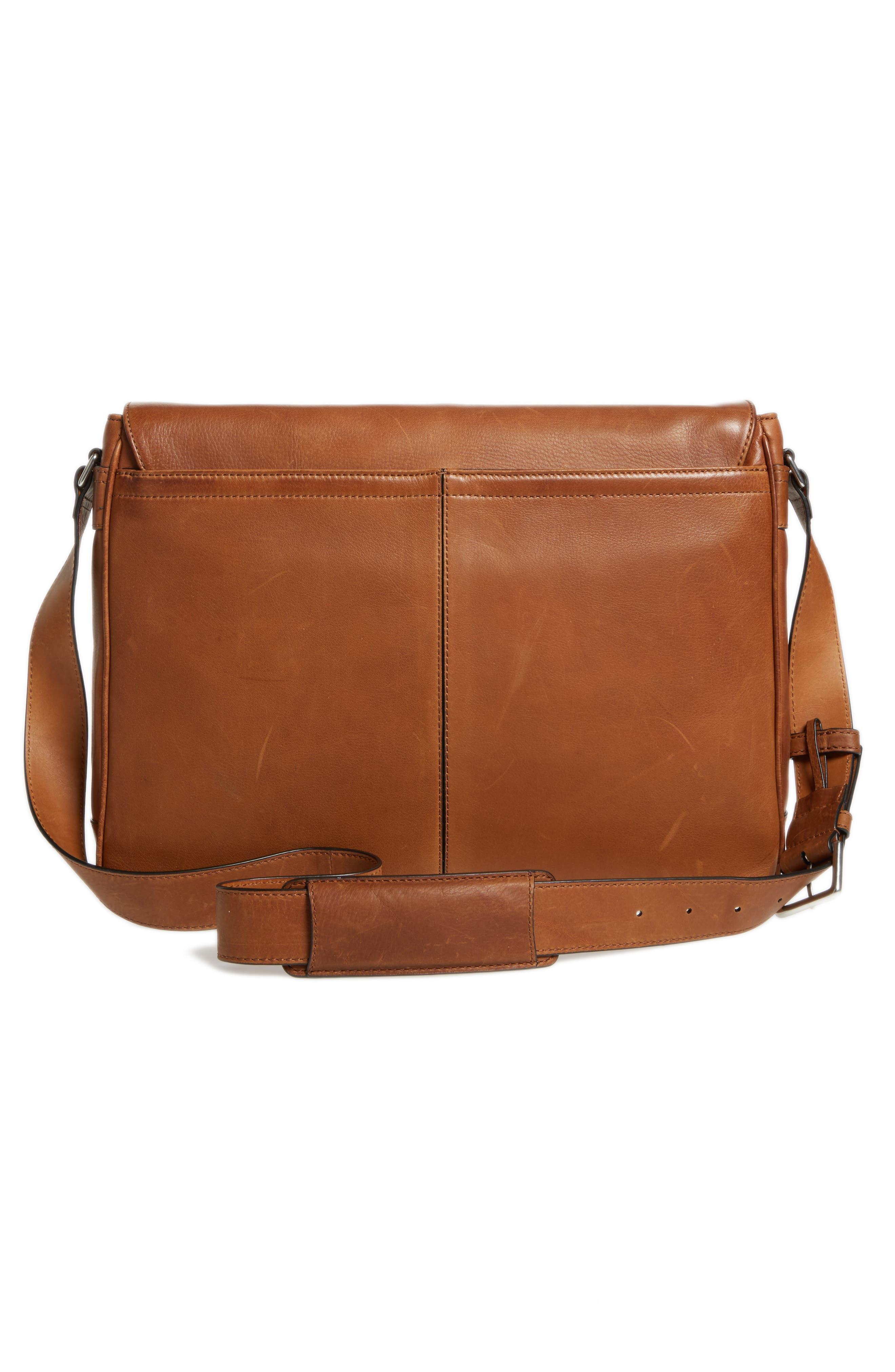 Oliver Leather Messenger Bag,                             Alternate thumbnail 3, color,                             Cognac