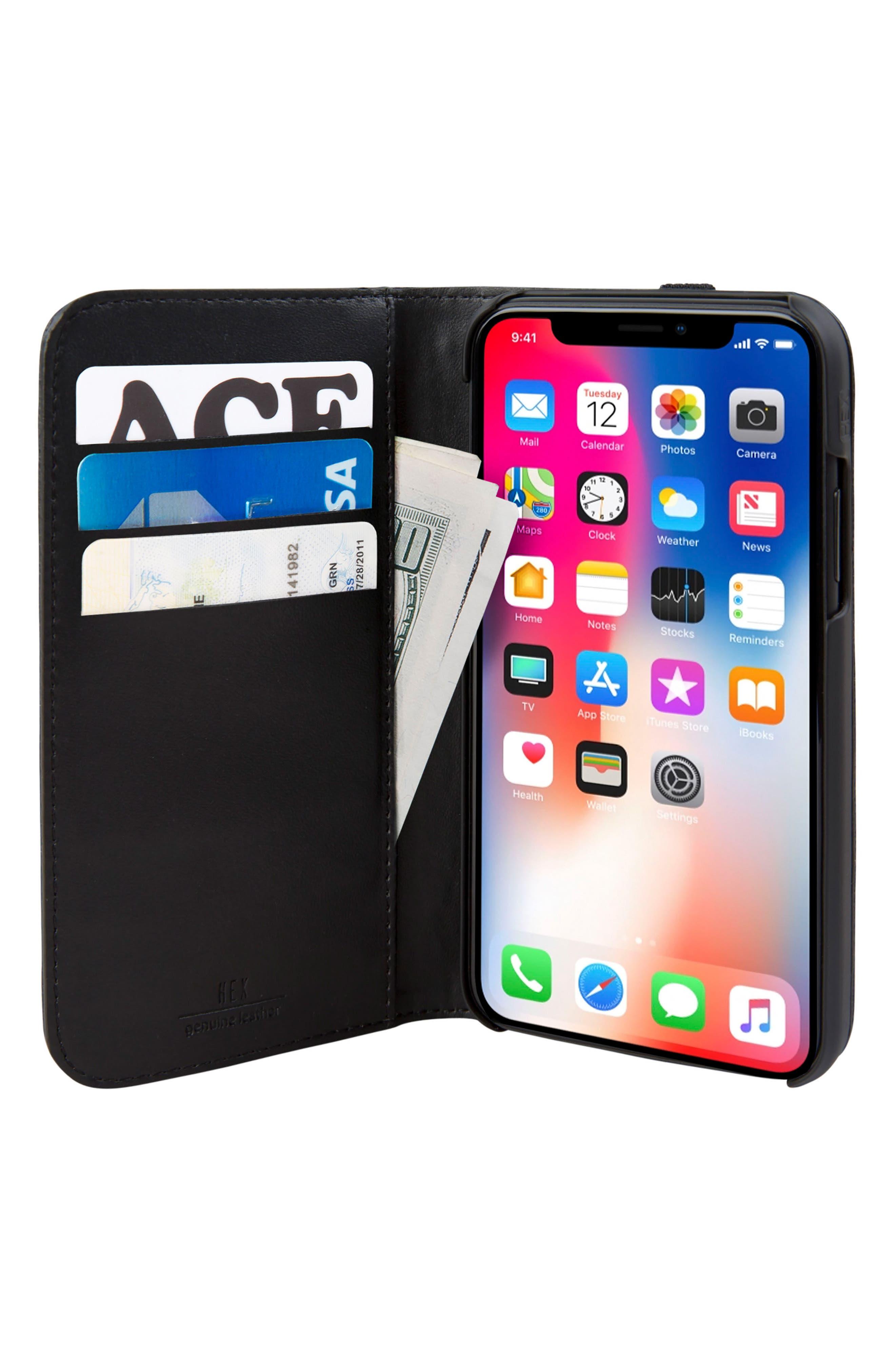 Icon iPhone X Wallet Case,                             Alternate thumbnail 3, color,                             Black/ Gold