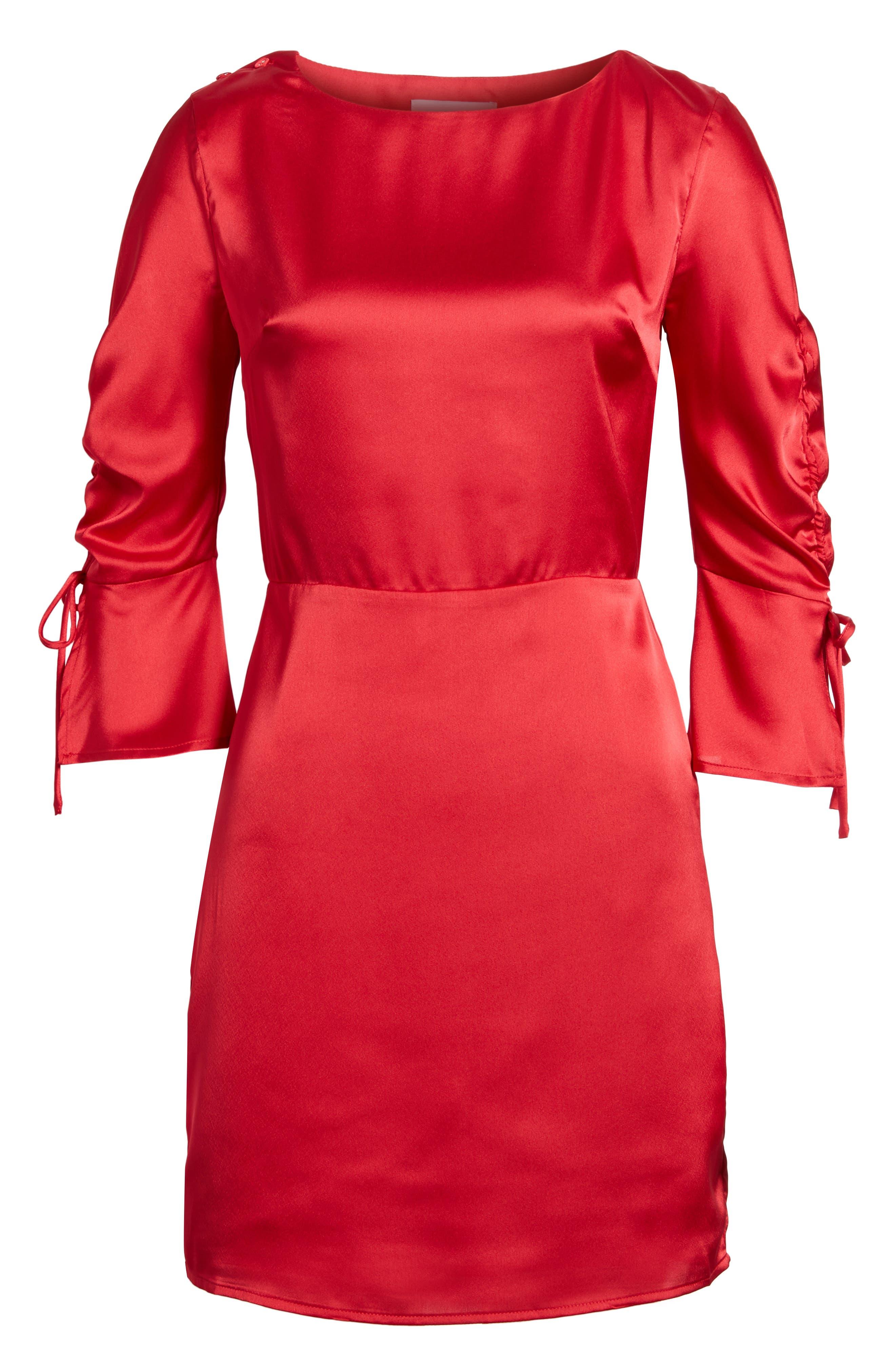 Tie Sleeve Minidress,                             Alternate thumbnail 6, color,                             Scarlett Red