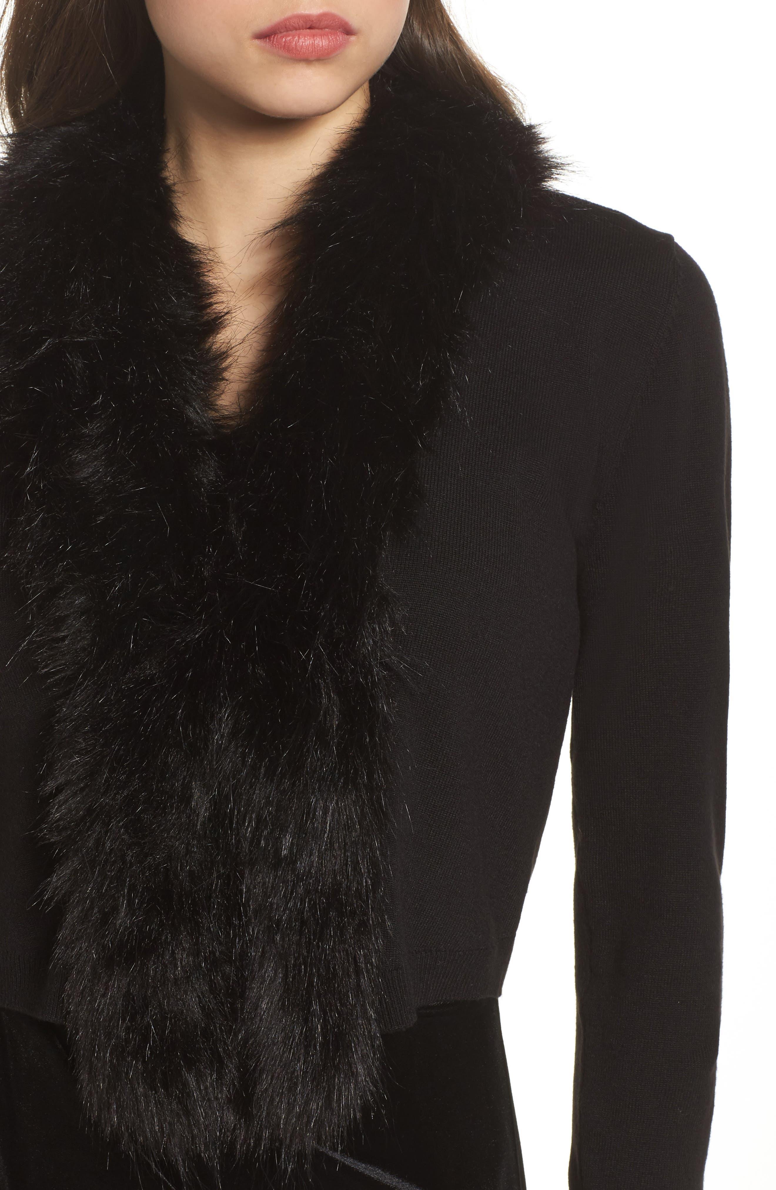 Faux Fur Trim Cardigan,                             Alternate thumbnail 4, color,                             Black