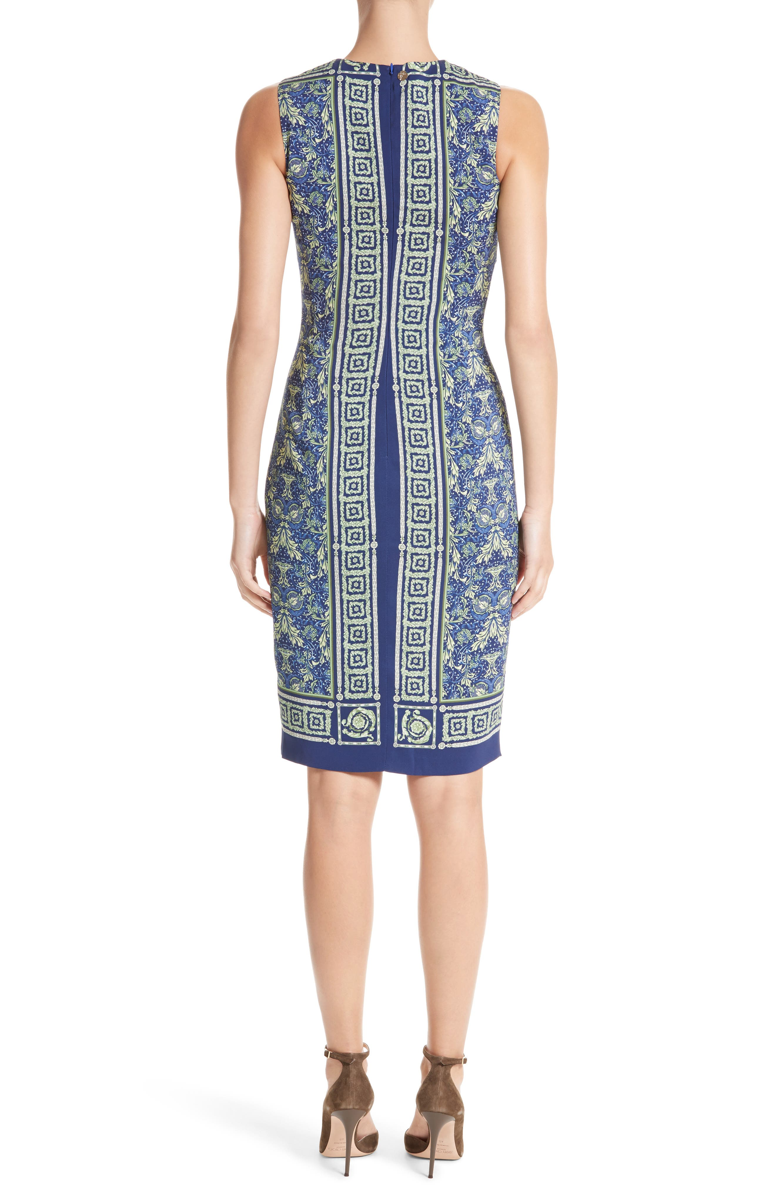 Acanthus Print Sheath Dress,                             Alternate thumbnail 2, color,                             Electric Blue Print