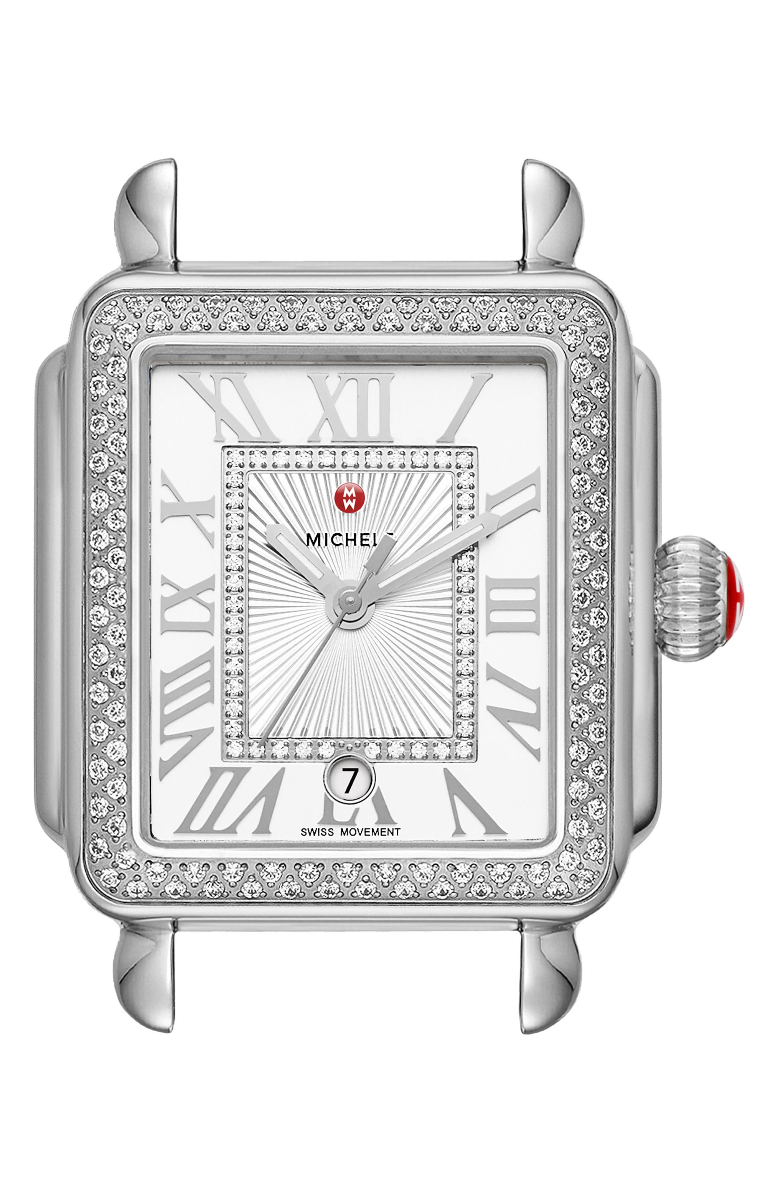 Deco Madison Diamond Dial Watch Case, 33mm x 35mm,                             Main thumbnail 1, color,                             Silver/ White/ Silver