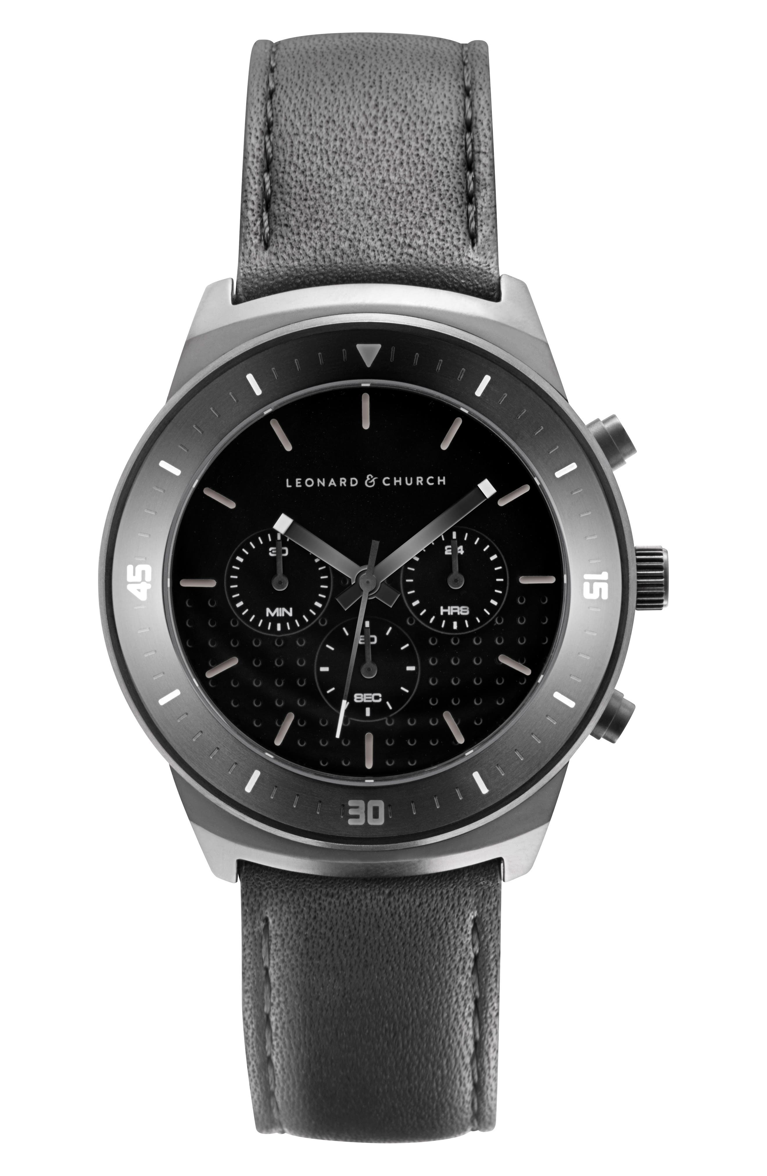 Leonard & Church Irving Chronograph Leather Strap Watch, 44mm,                         Main,                         color, Black