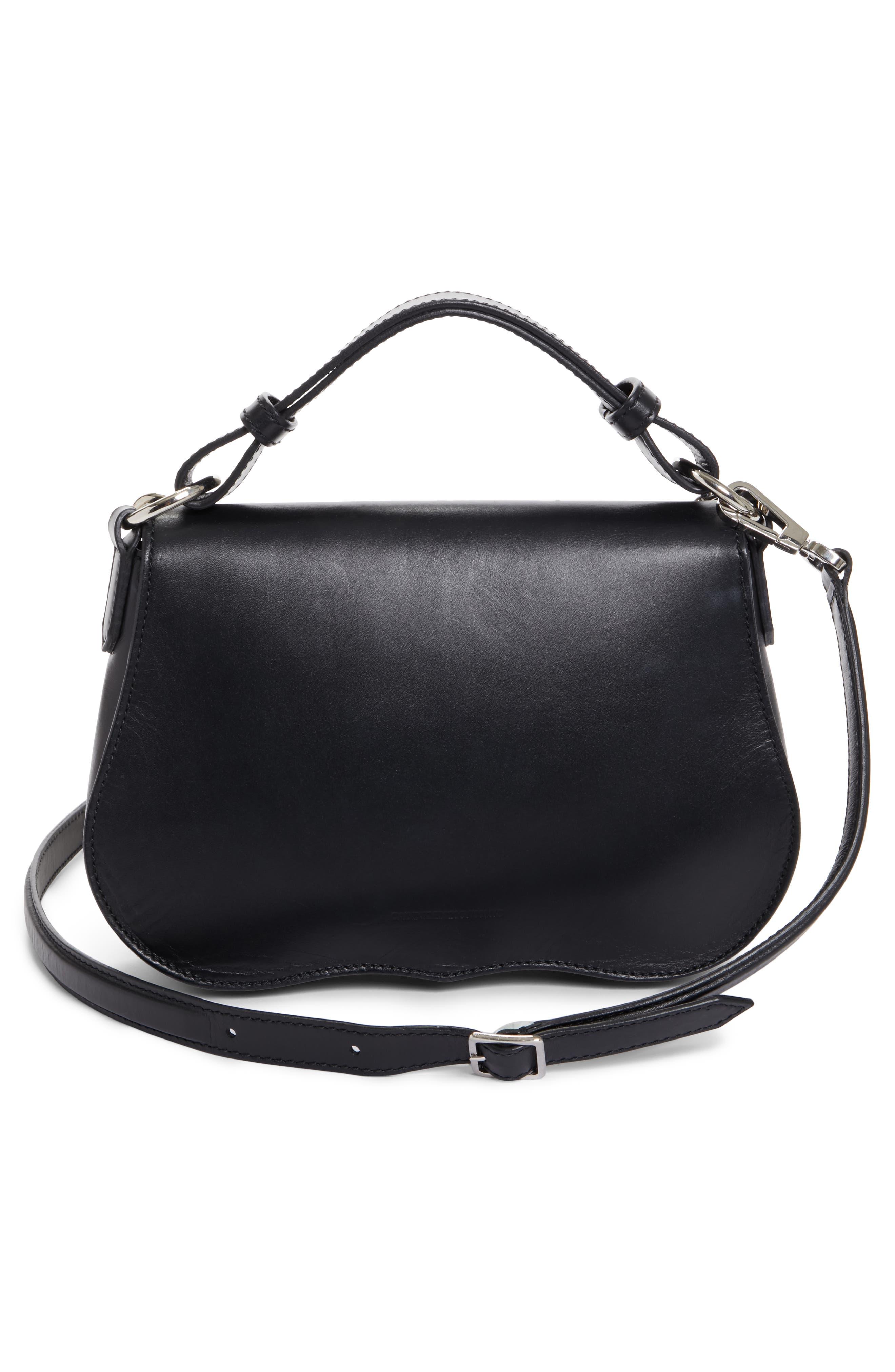 Small Calfskin Shoulder Bag,                             Alternate thumbnail 3, color,                             Black