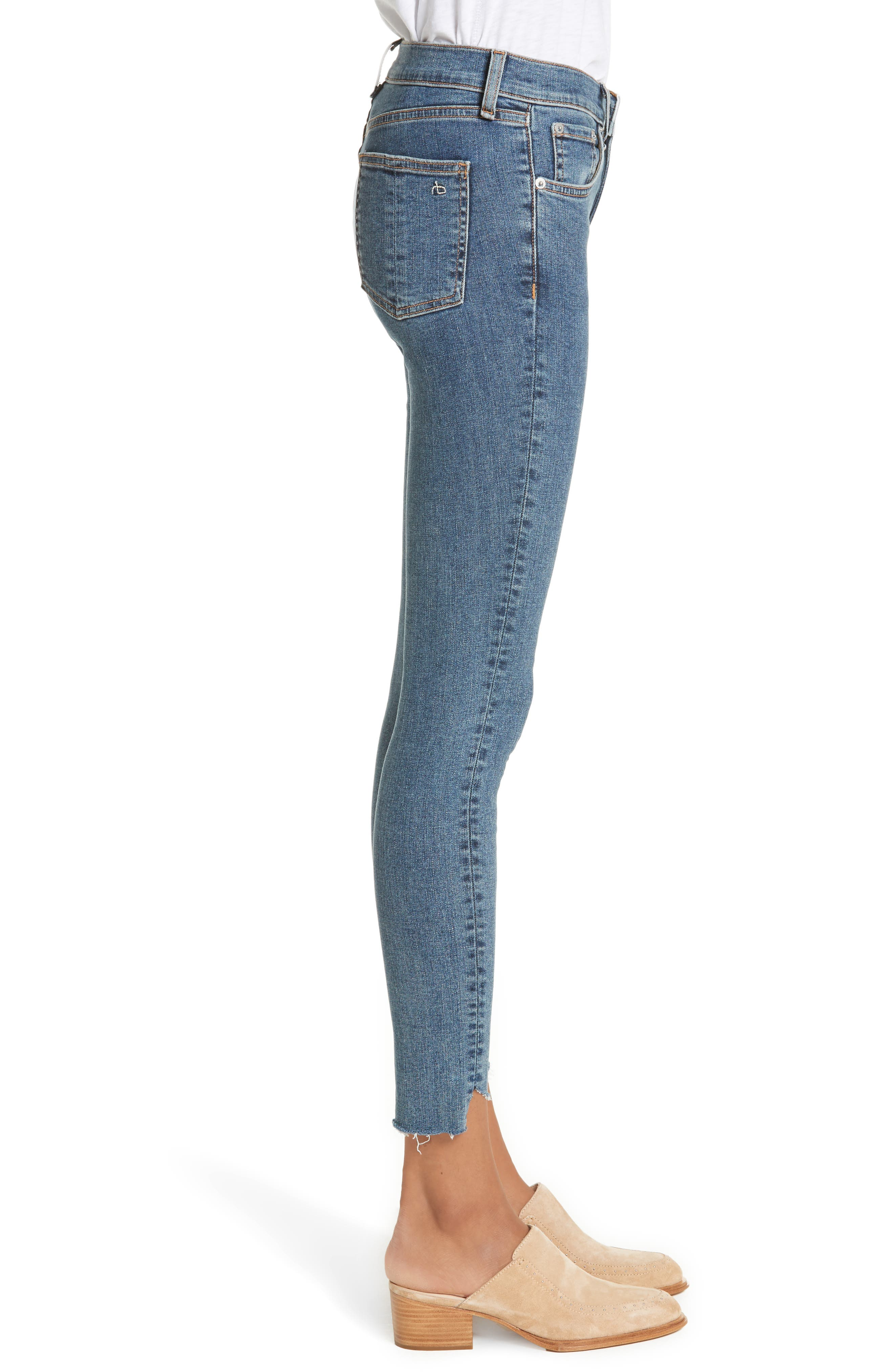 High Waist Ankle Skinny Jeans,                             Alternate thumbnail 3, color,                             Clean Commodore