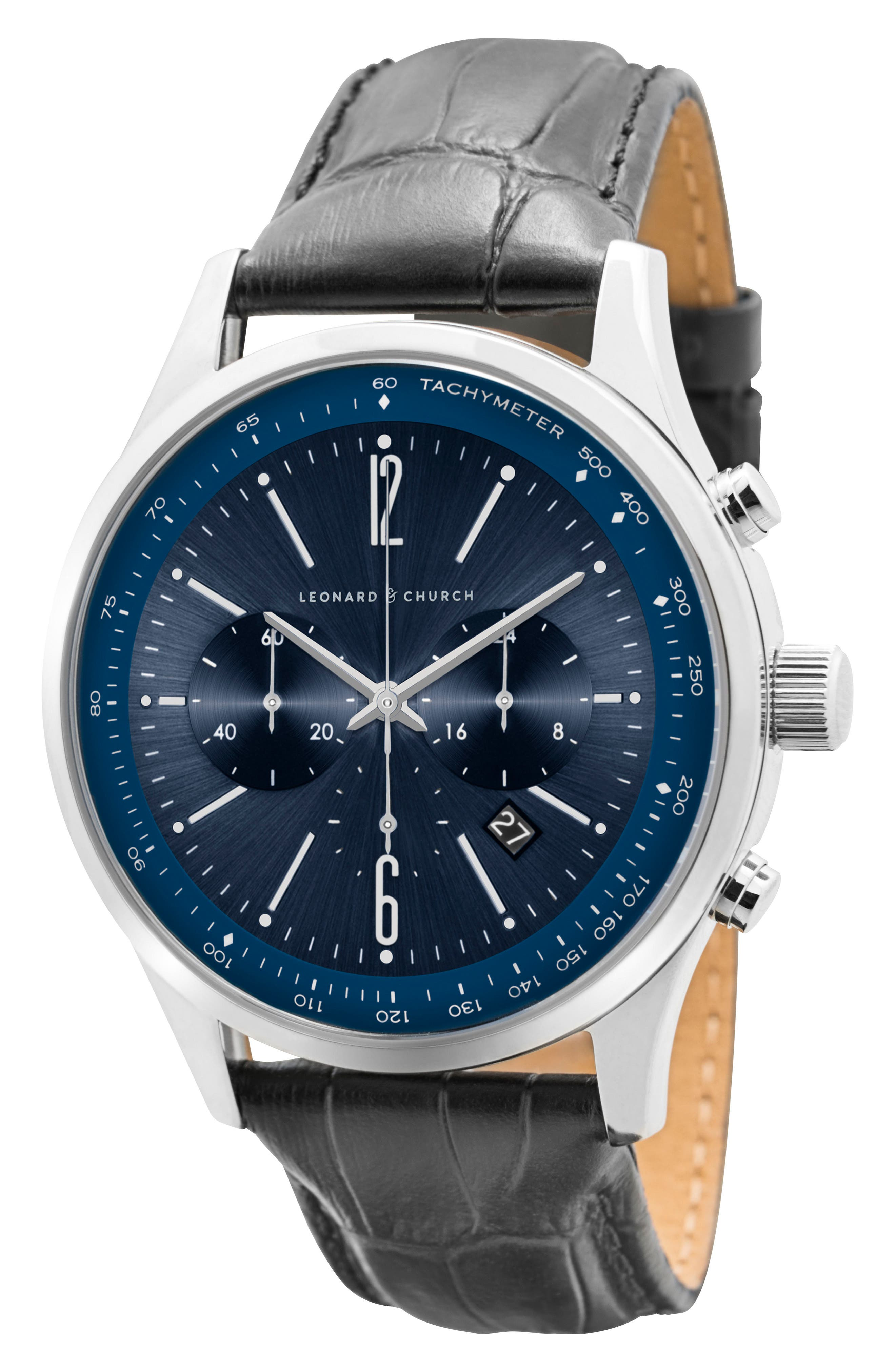 Leonard & Church Barclay Chronograph Leather Strap Watch, 43mm,                             Alternate thumbnail 3, color,                             Black/ Blue/ Silver