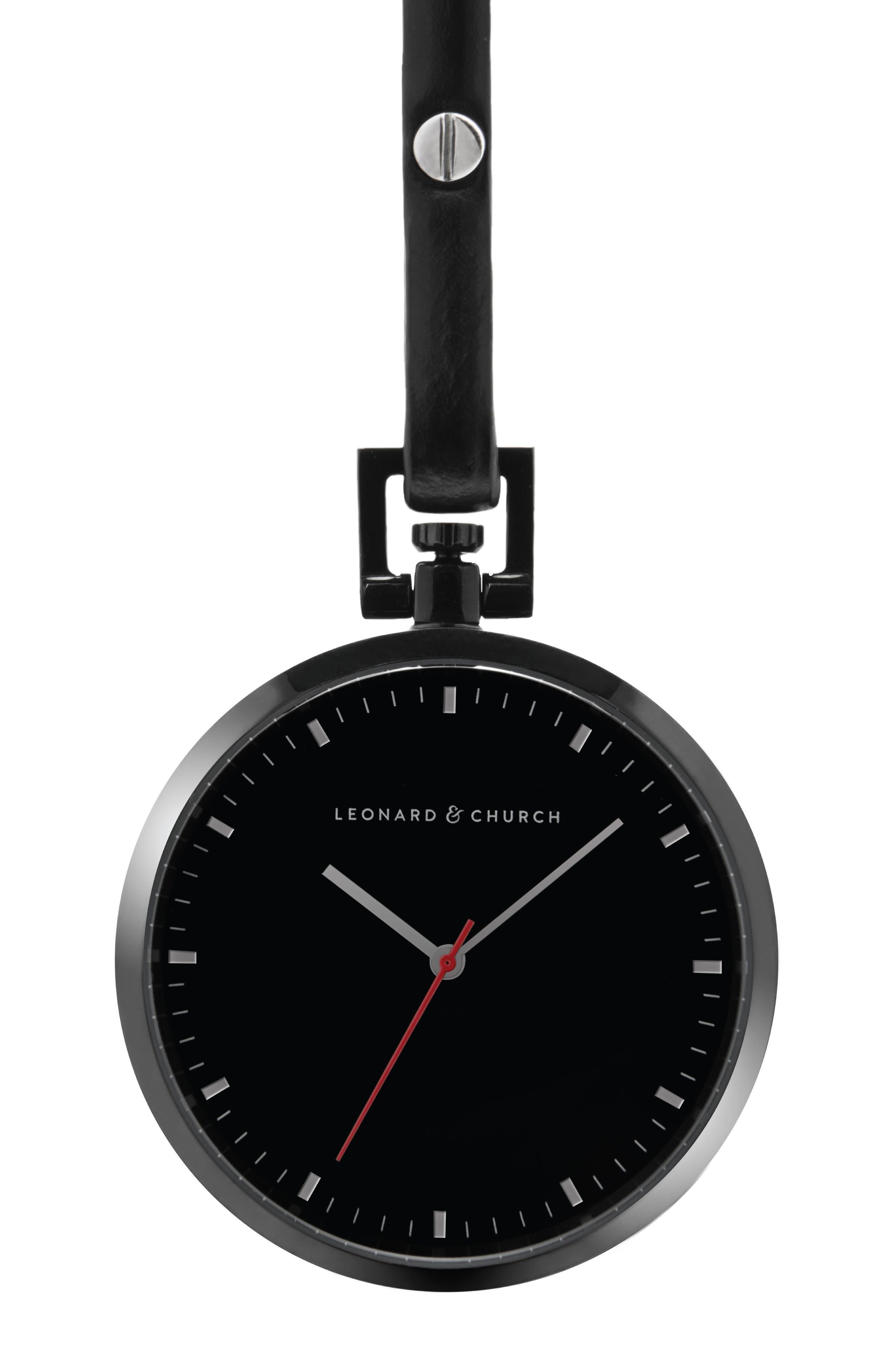 Leonard & Church Prospect Leather Strap Pocket Watch, 48mm,                         Main,                         color, Black