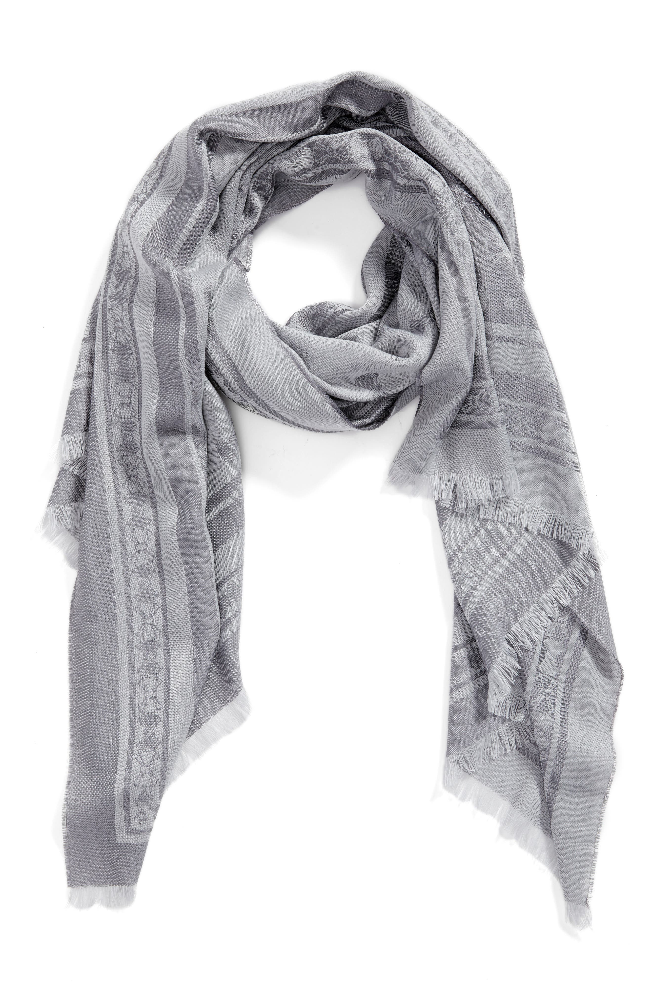 Bow Jacquard Wool & Silk Scarf,                             Alternate thumbnail 3, color,                             Light Grey