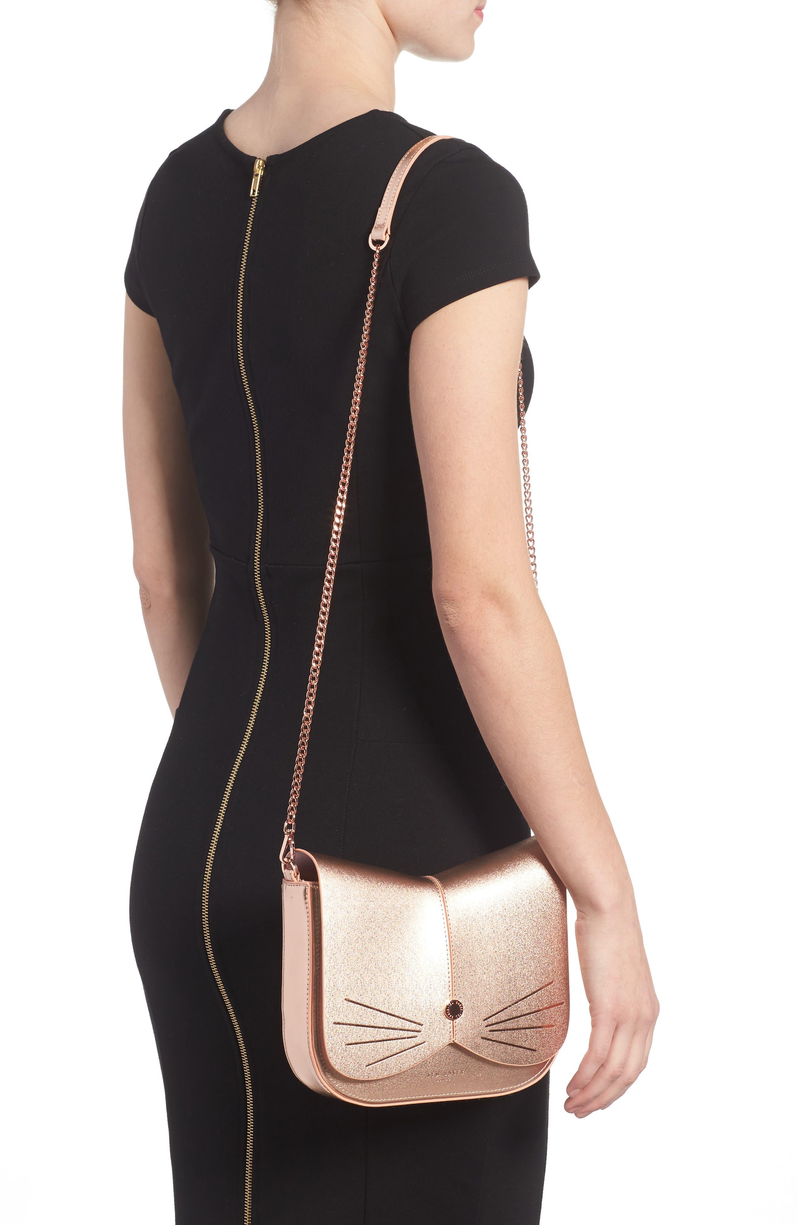 Kittii Cat Leather Crossbody Bag,                             Alternate thumbnail 2, color,                             Rose Gold