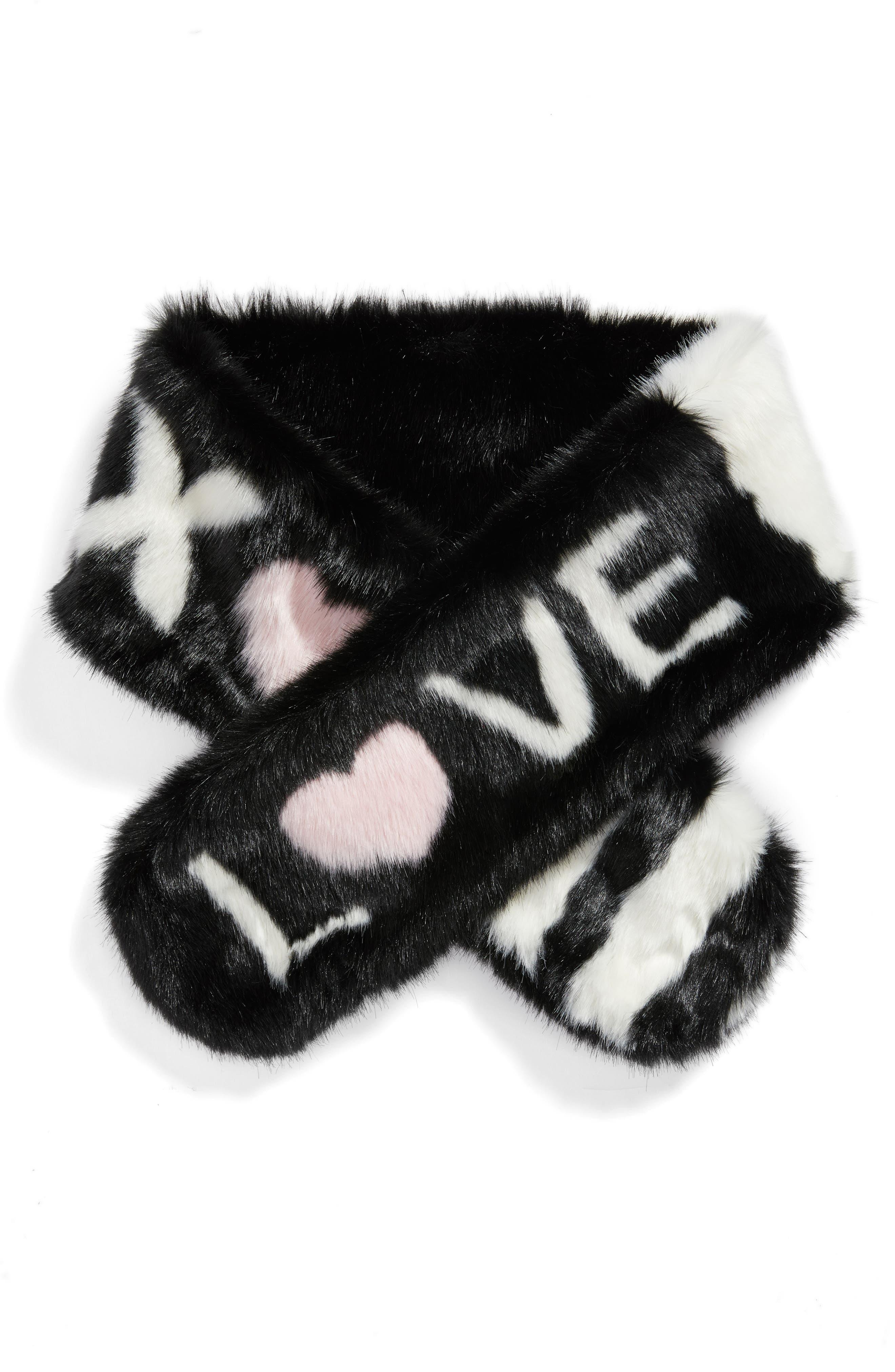 Love Faux Fur Stole,                             Alternate thumbnail 3, color,                             Black/ White