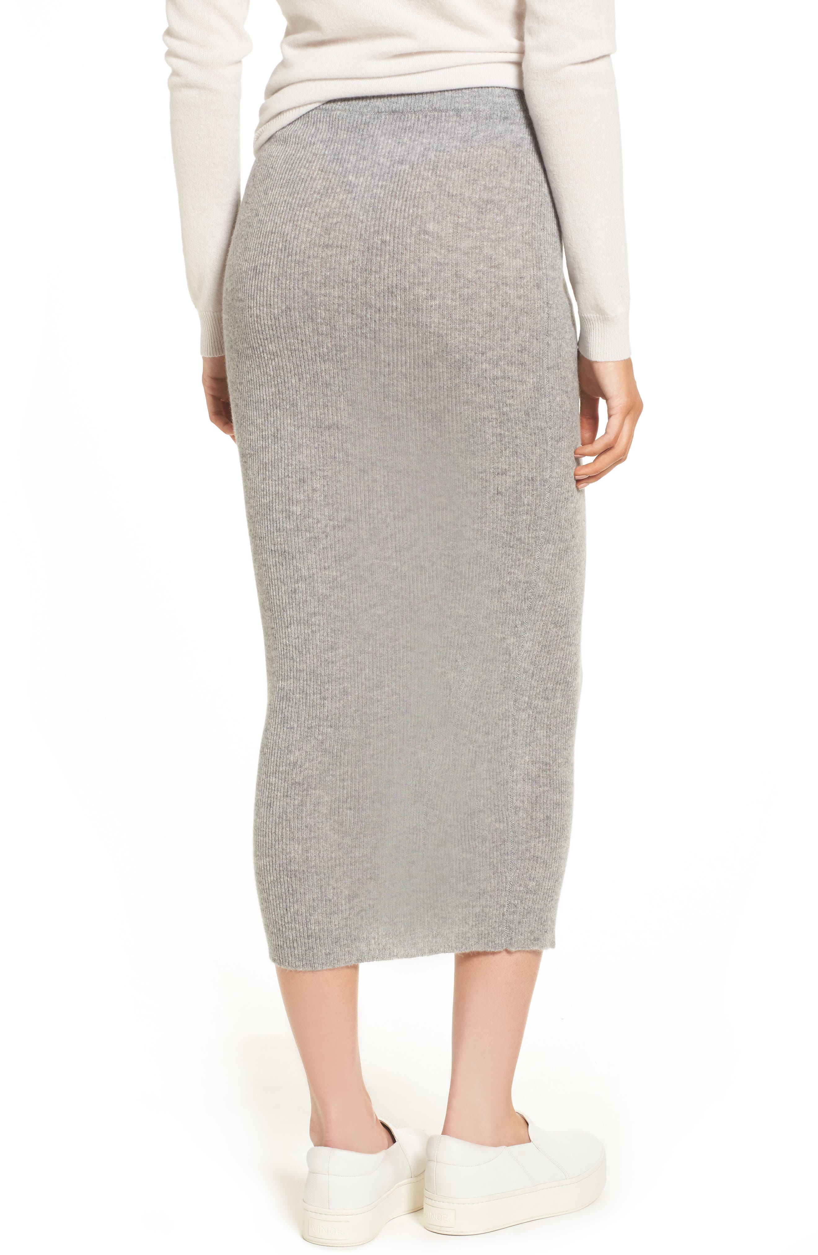 Cashmere Skirt,                             Alternate thumbnail 2, color,                             Heather Grey
