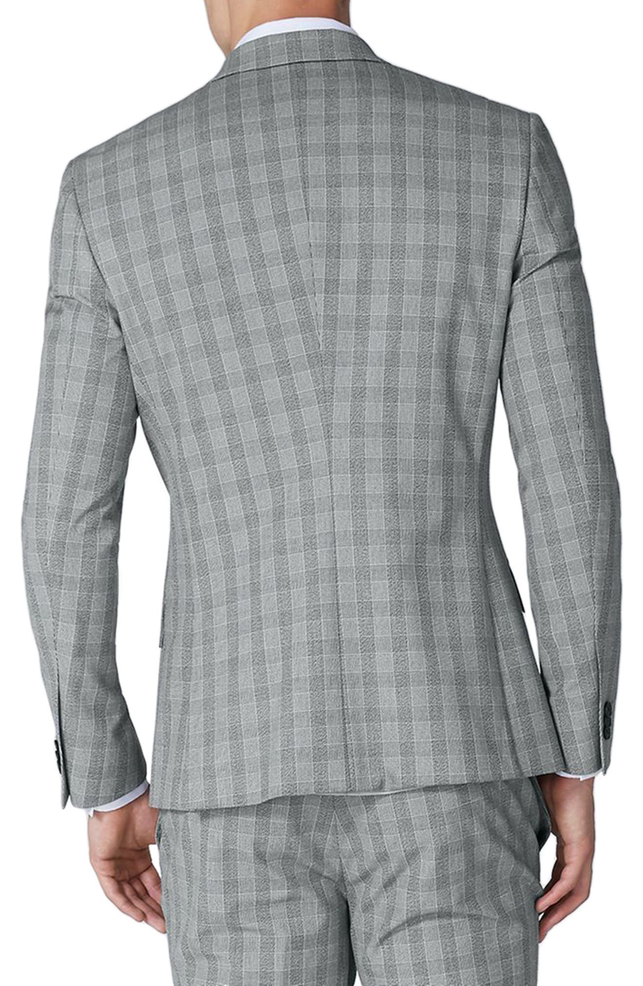 Muscle Fit Check Suit Jacket,                             Alternate thumbnail 3, color,                             Grey