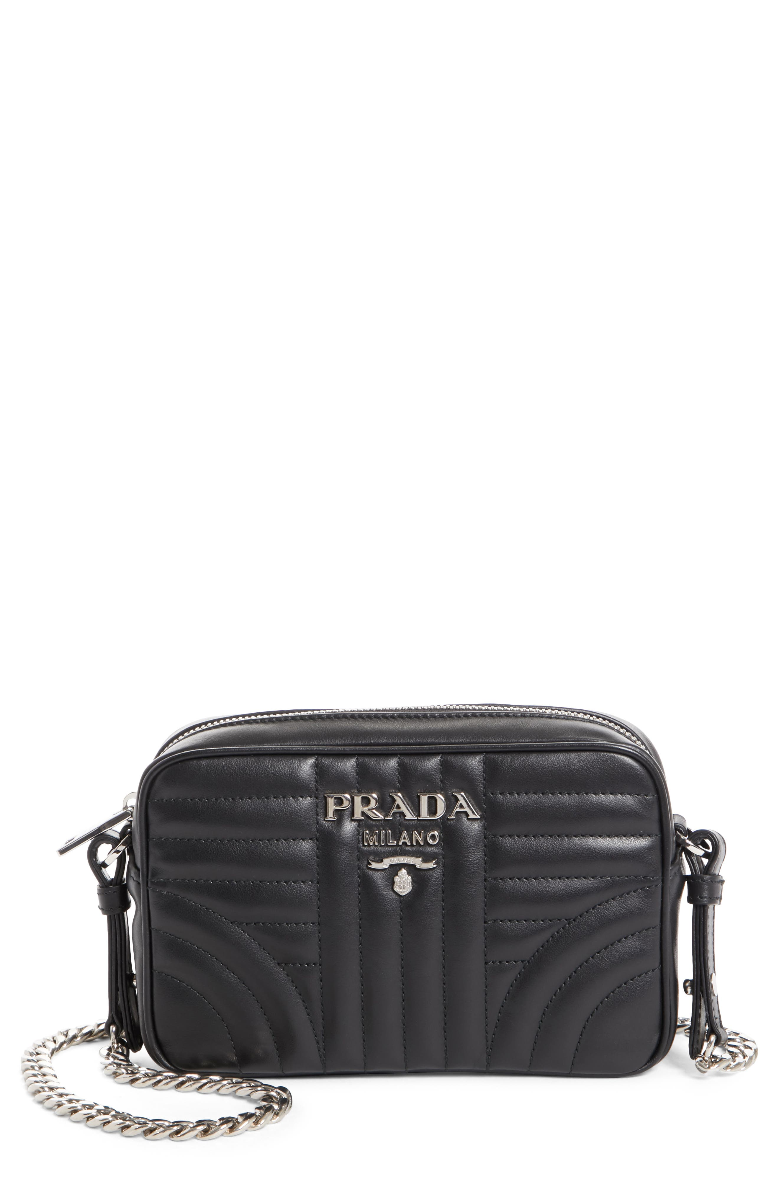 Prada Small Impunture Quilted Calfskin Leather Camera Bag