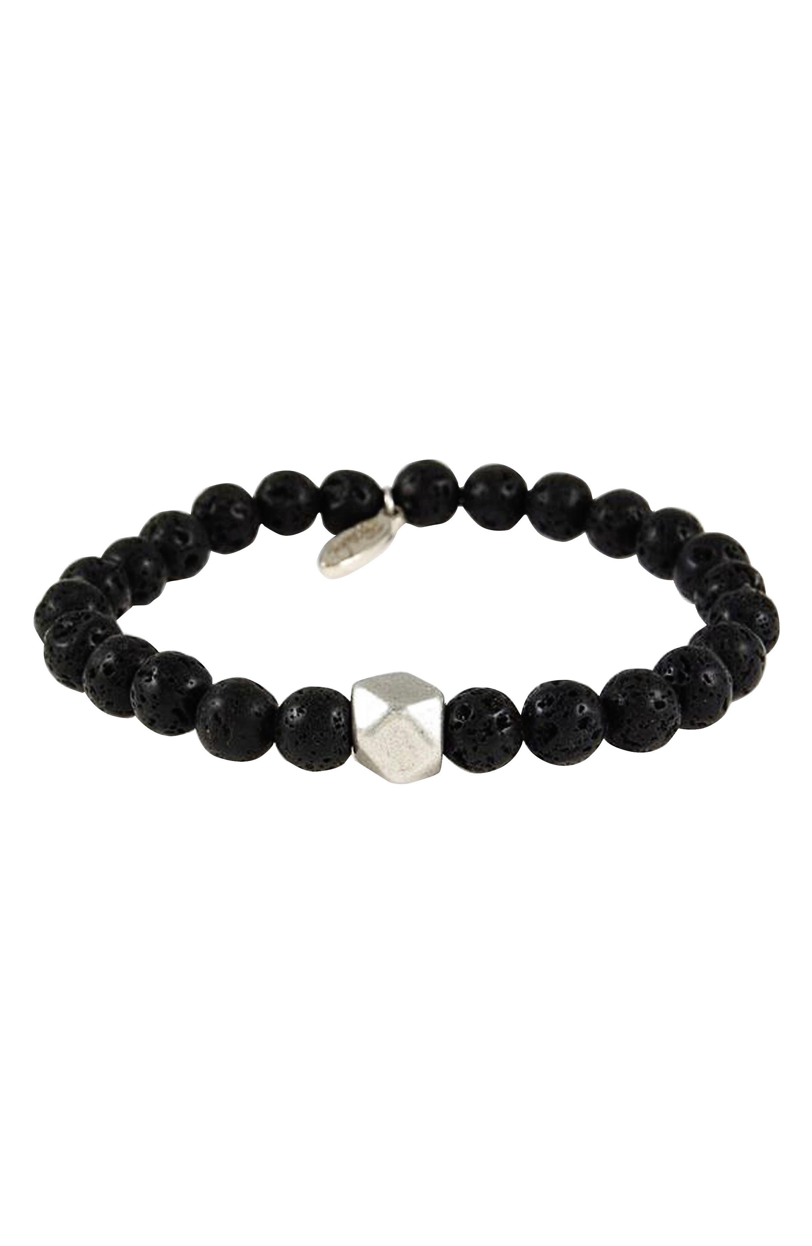 Onyx Stretch Bracelet,                             Main thumbnail 1, color,                             Black