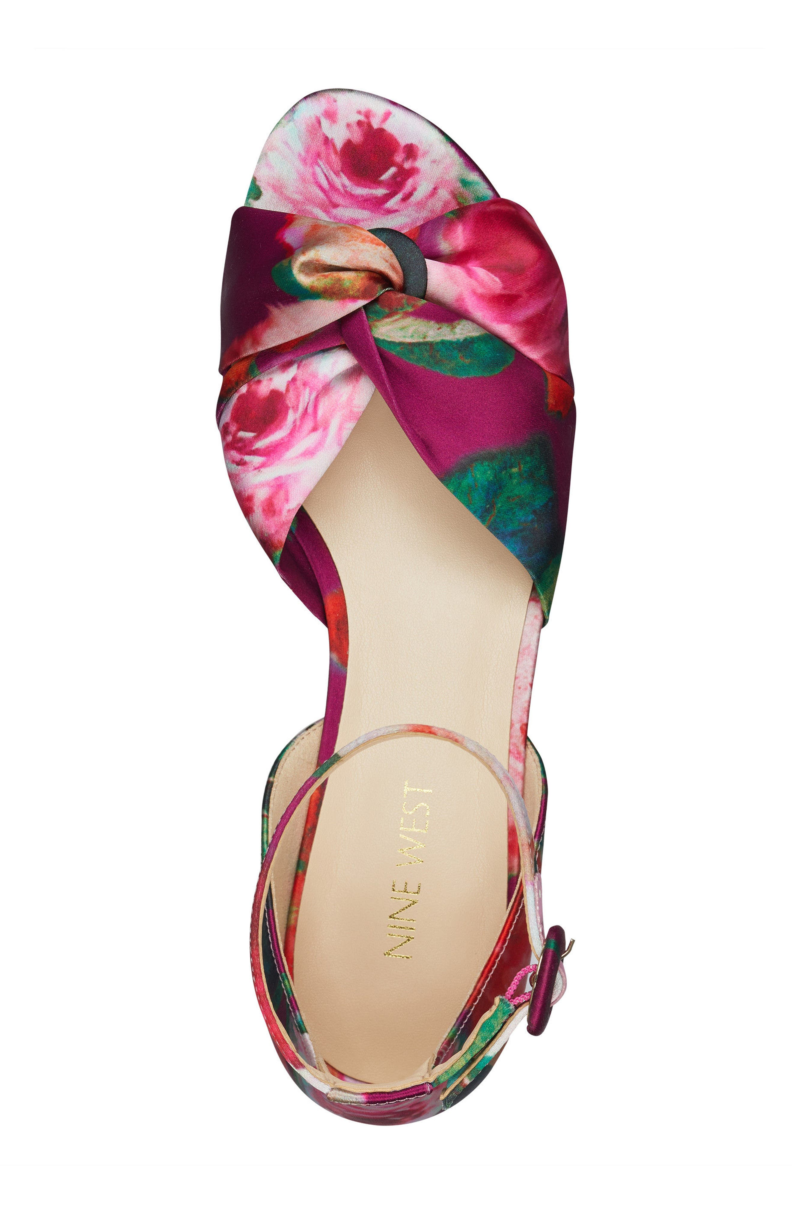 Lumsi Ankle Strap Sandal,                             Alternate thumbnail 5, color,                             Pink Multi Satin
