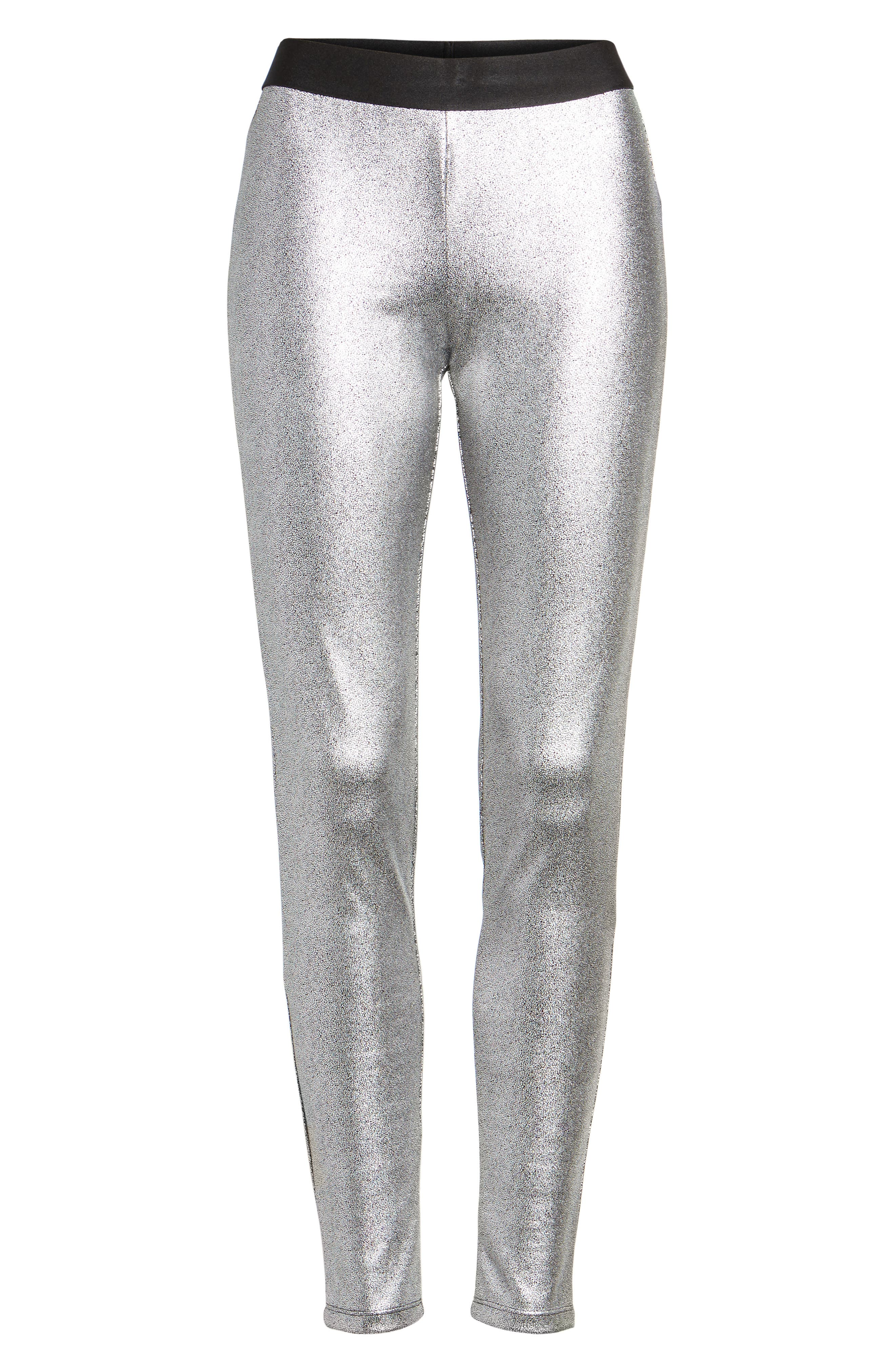 Metallic Leggings,                             Alternate thumbnail 4, color,                             Silver